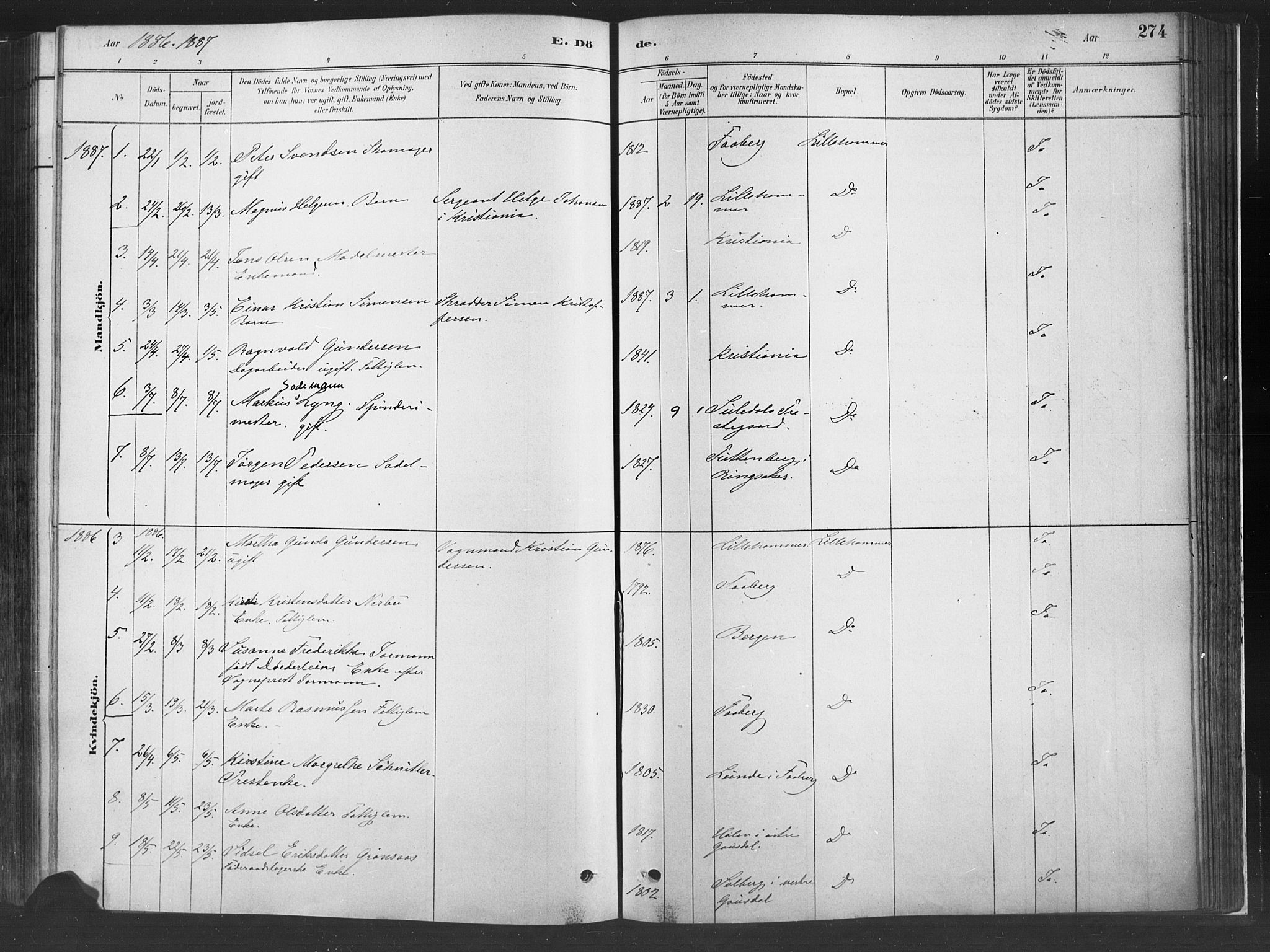SAH, Fåberg prestekontor, Ministerialbok nr. 10, 1879-1900, s. 274