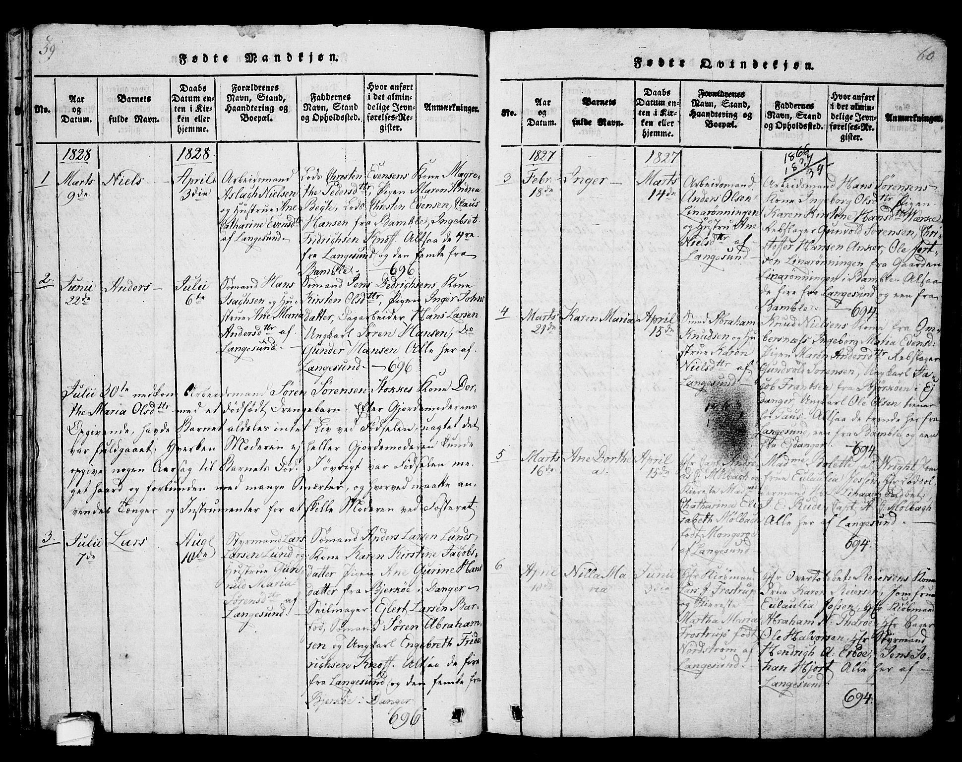 SAKO, Langesund kirkebøker, G/Ga/L0003: Klokkerbok nr. 3, 1815-1858, s. 59-60