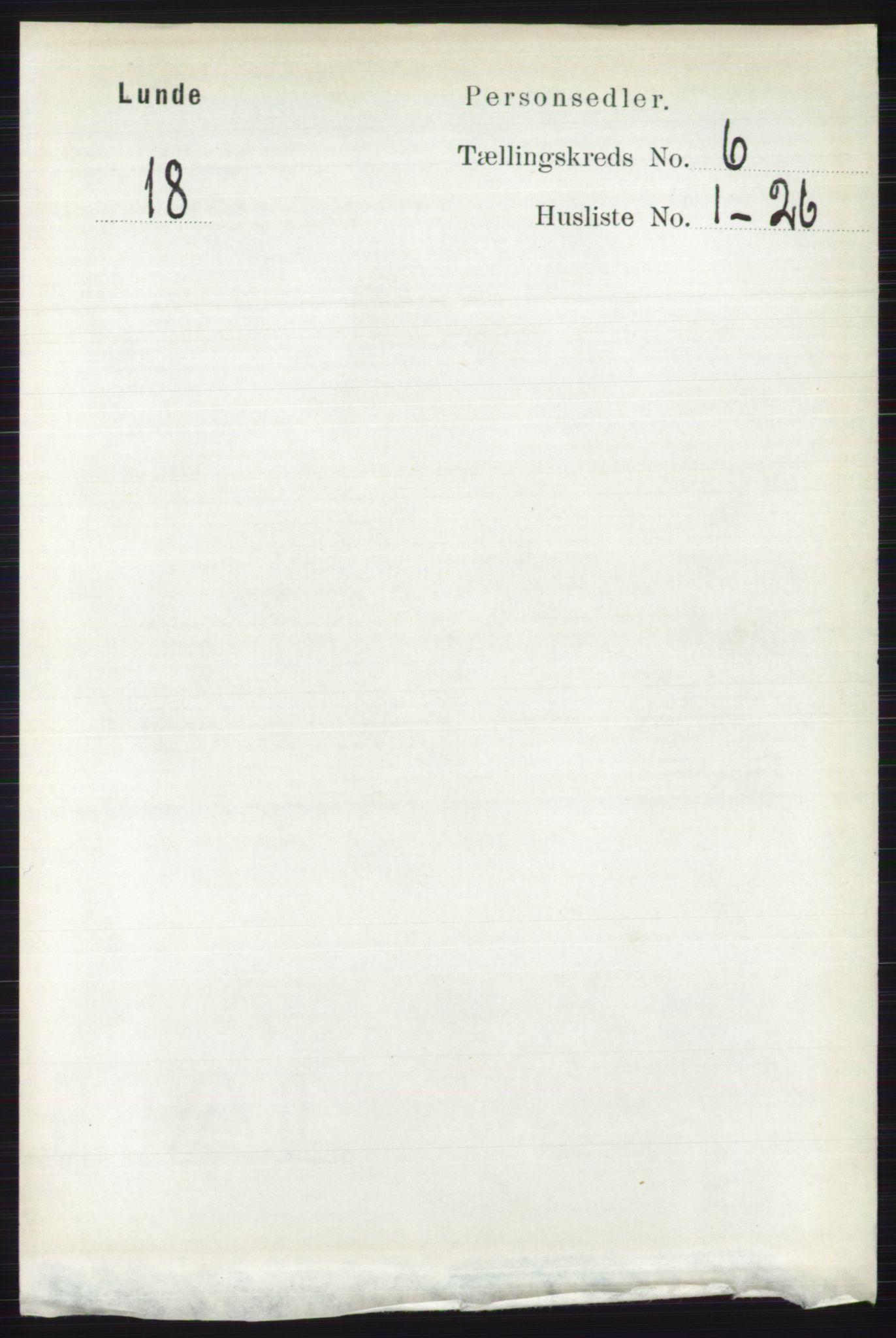 RA, Folketelling 1891 for 0820 Lunde herred, 1891, s. 2031