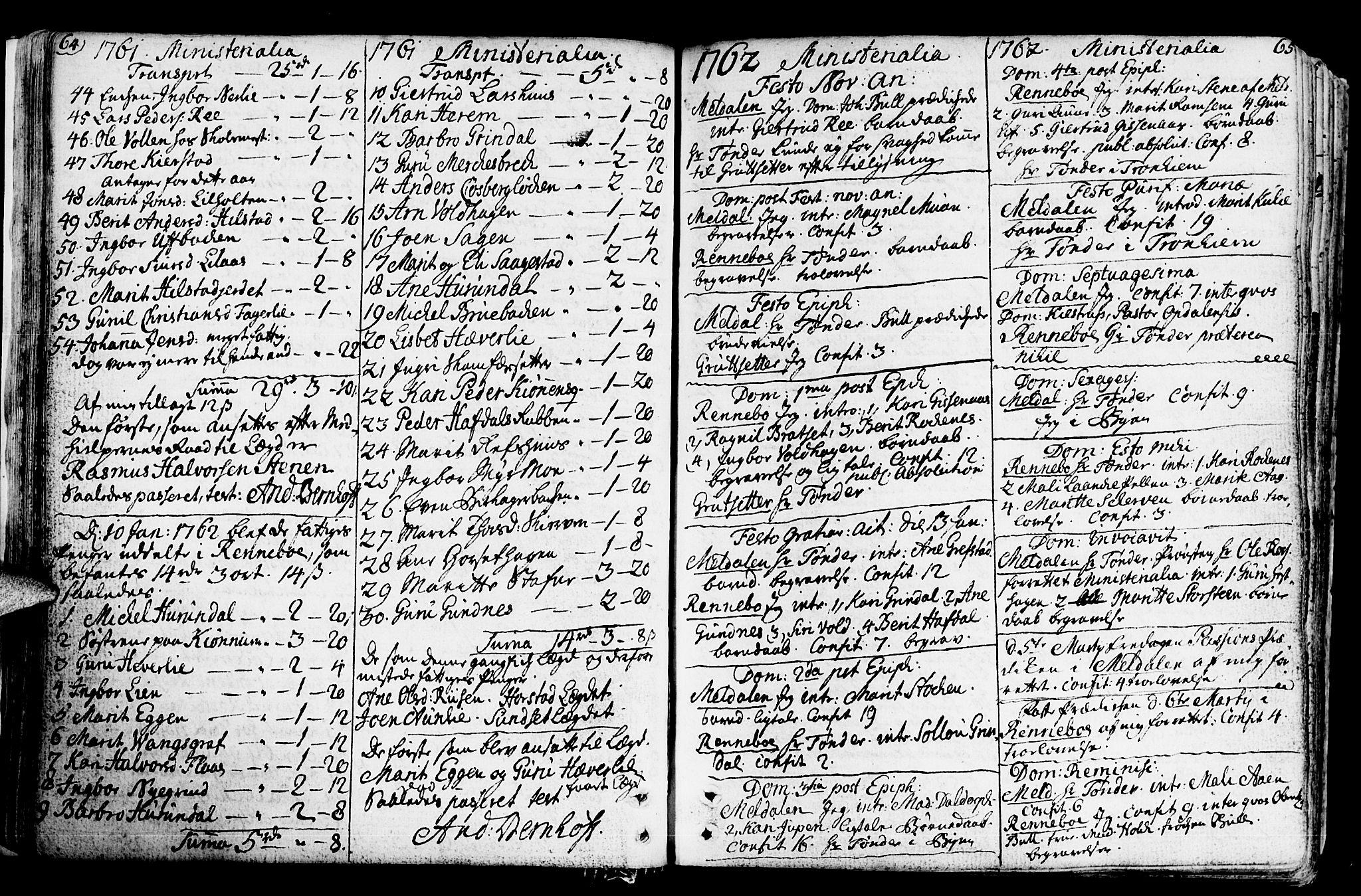 SAT, Ministerialprotokoller, klokkerbøker og fødselsregistre - Sør-Trøndelag, 672/L0851: Ministerialbok nr. 672A04, 1751-1775, s. 64-65