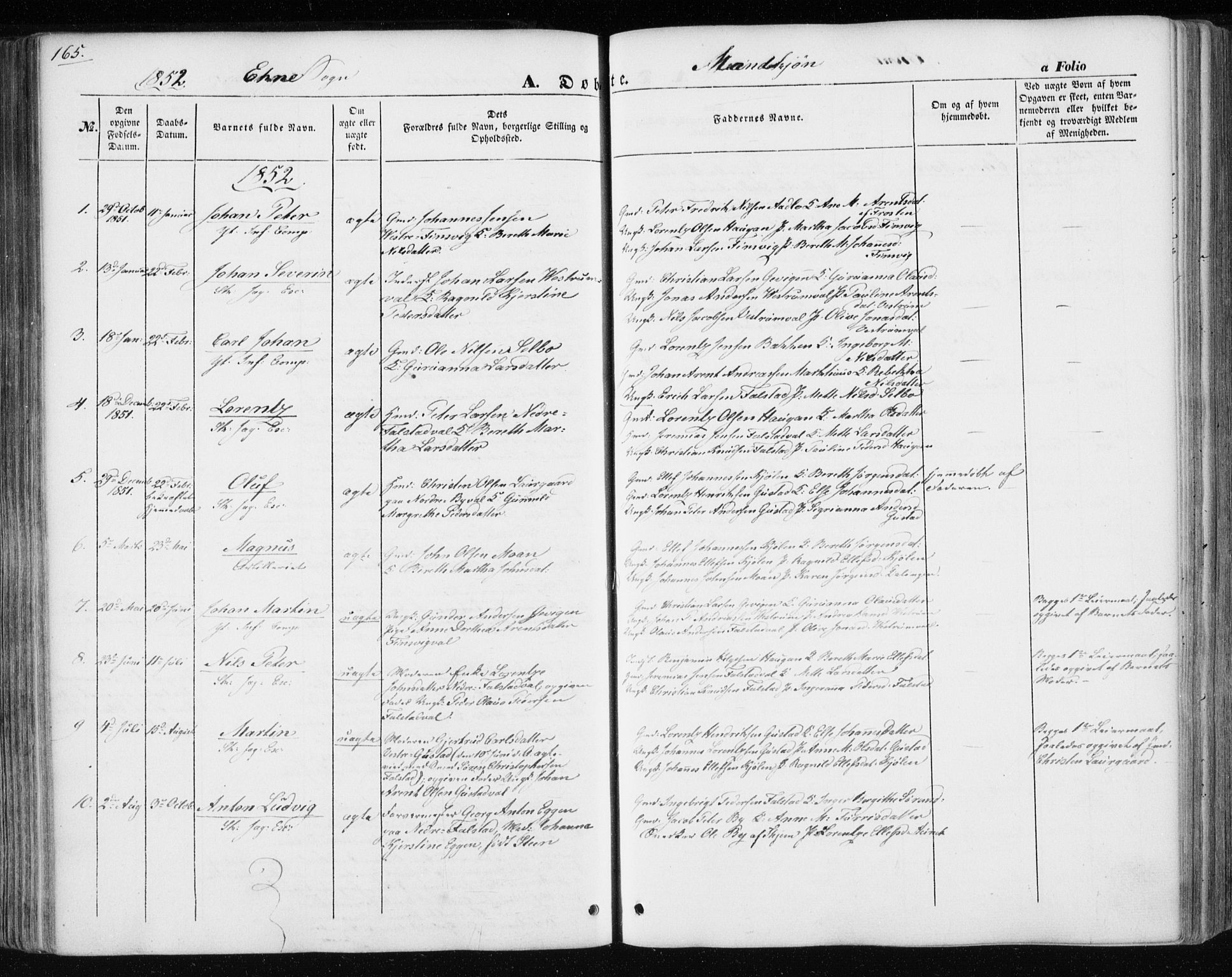 SAT, Ministerialprotokoller, klokkerbøker og fødselsregistre - Nord-Trøndelag, 717/L0154: Ministerialbok nr. 717A07 /3, 1850-1862, s. 165