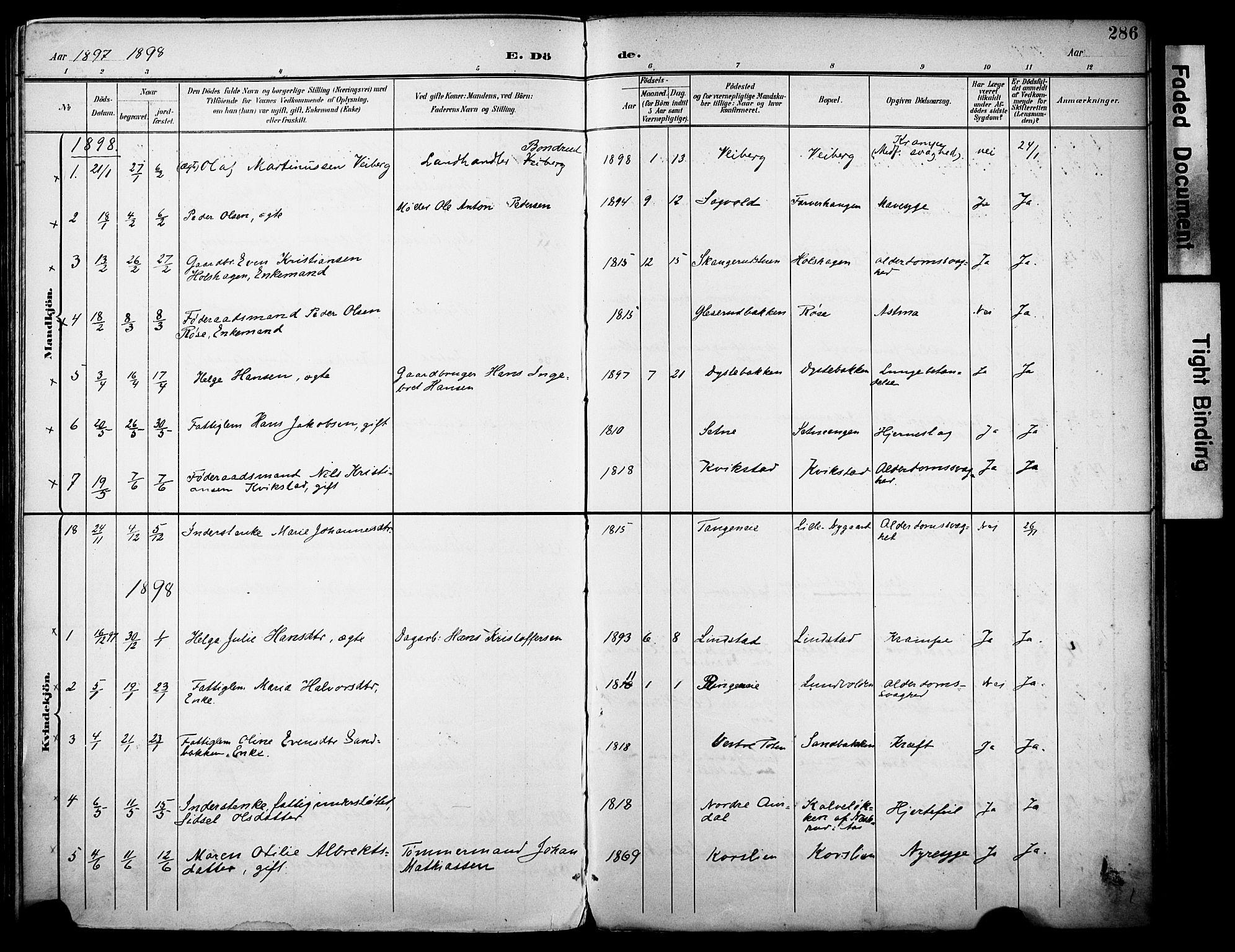 SAH, Vestre Toten prestekontor, H/Ha/Haa/L0013: Ministerialbok nr. 13, 1895-1911, s. 286