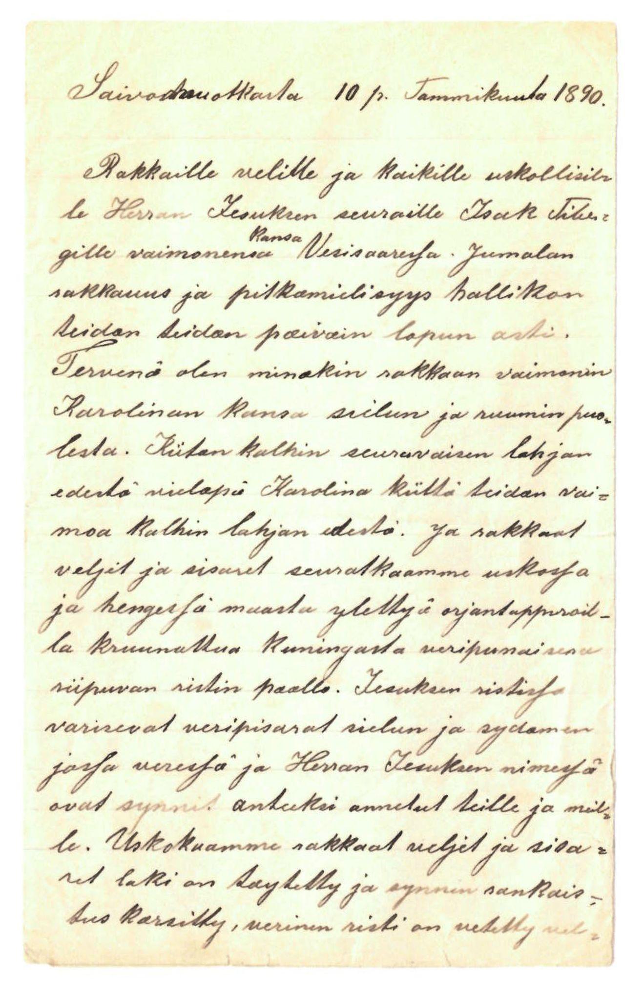 FMFB, Elise Balos brevsamling, F/Fa/L0009: Brav fra J. Raattamaa v/Isak Tiberg , 1890