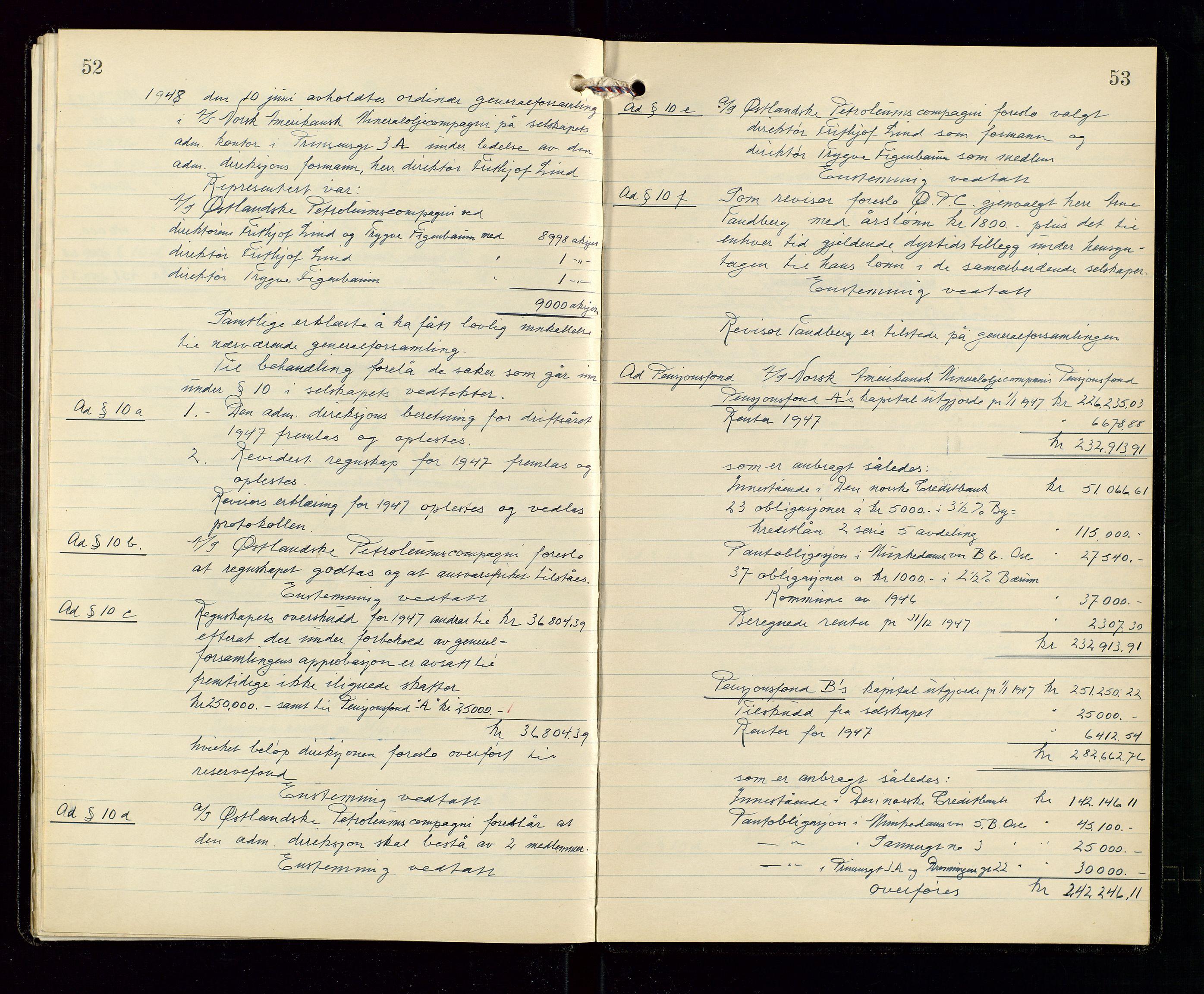 SAST, Pa 1536 - Esso Norge as, Vallø Oljeraffineri og lager, A/Aa/L0001: Generalforsamlinger og bilag til generalforsamlinger, 1934-1950, s. 52-53