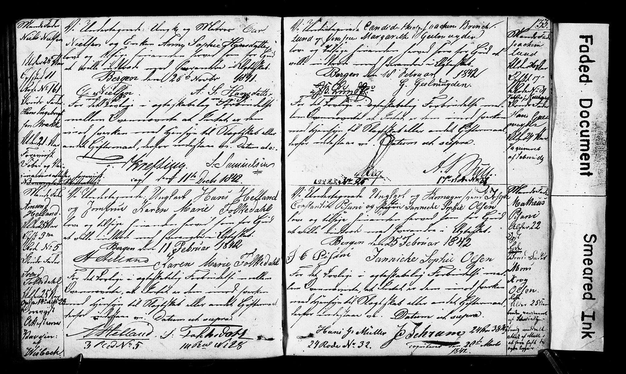 SAB, Domkirken Sokneprestembete, Forlovererklæringer nr. II.5.3, 1832-1845, s. 133