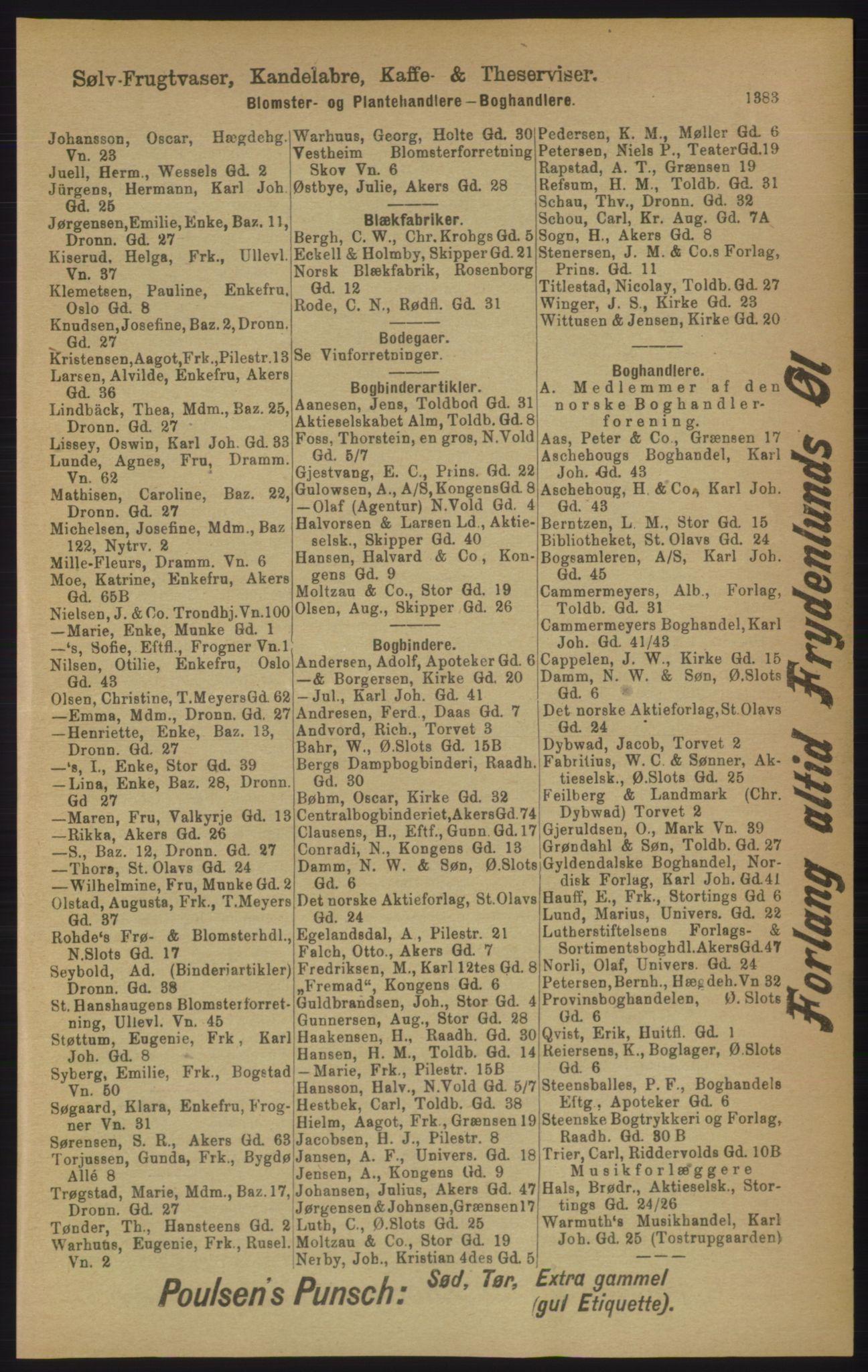 RA, Kristiania adressebok (publikasjon)*, 1906, s. 1383