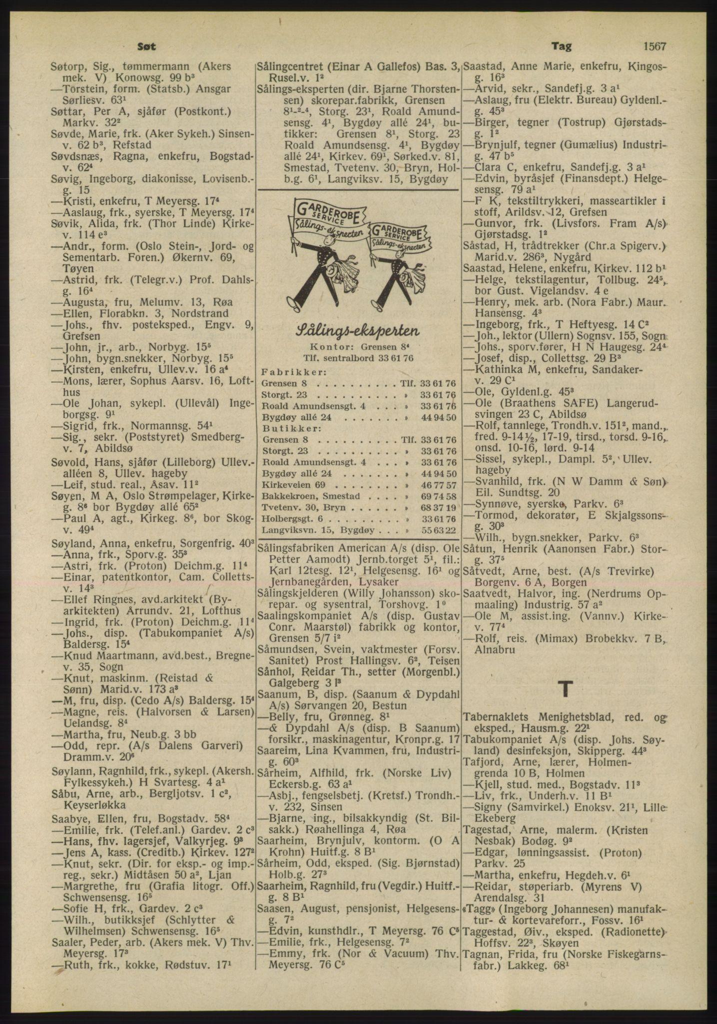 RA, Oslo adressebok (publikasjon)*, 1955, s. 1567