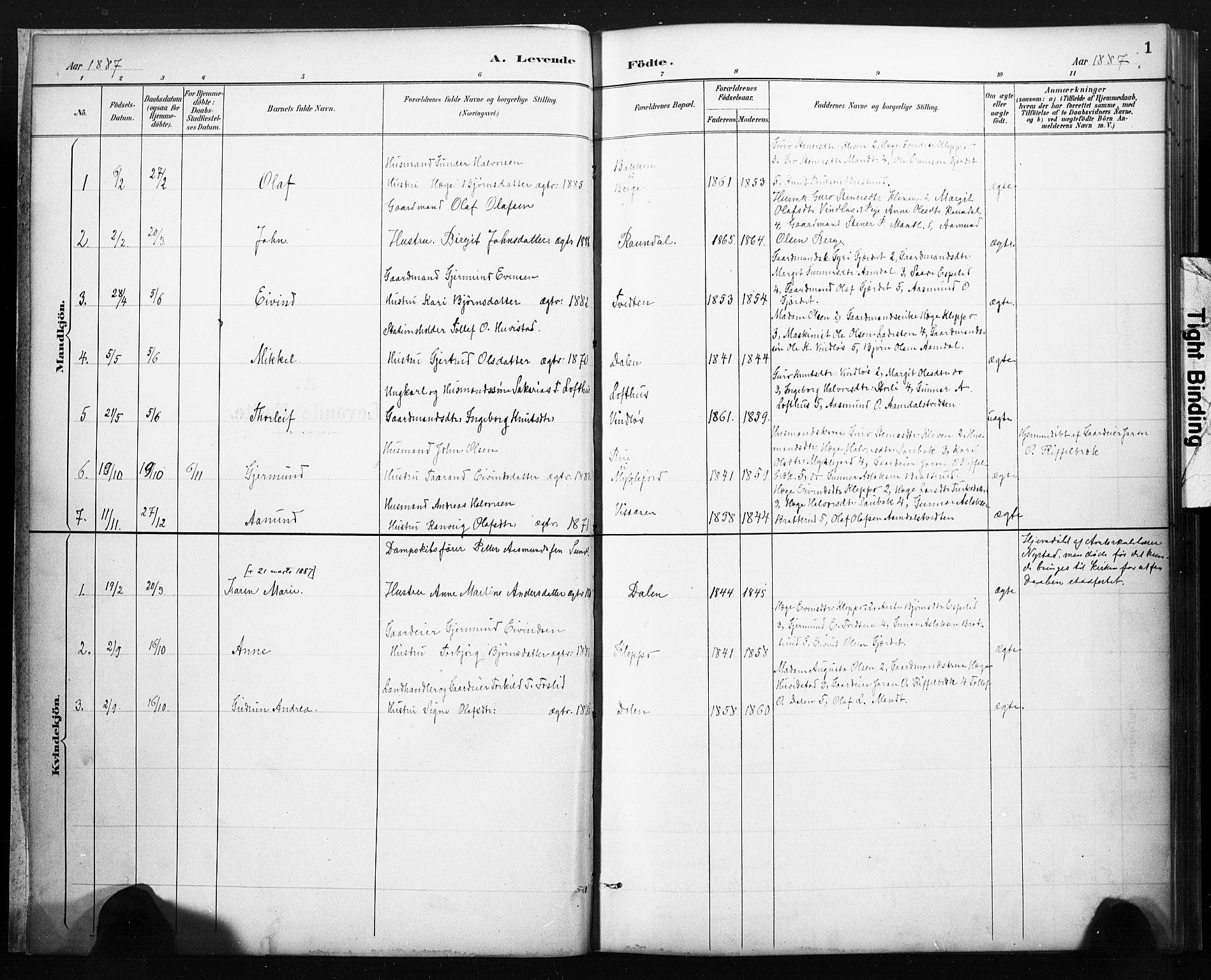 SAKO, Lårdal kirkebøker, F/Fb/L0002: Ministerialbok nr. II 2, 1887-1918, s. 1