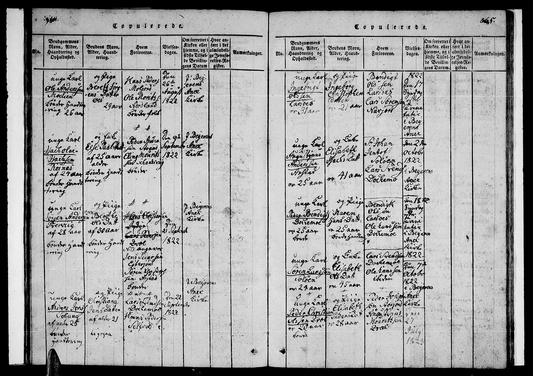 SAT, Ministerialprotokoller, klokkerbøker og fødselsregistre - Nordland, 846/L0651: Klokkerbok nr. 846C01, 1821-1841, s. 364-365