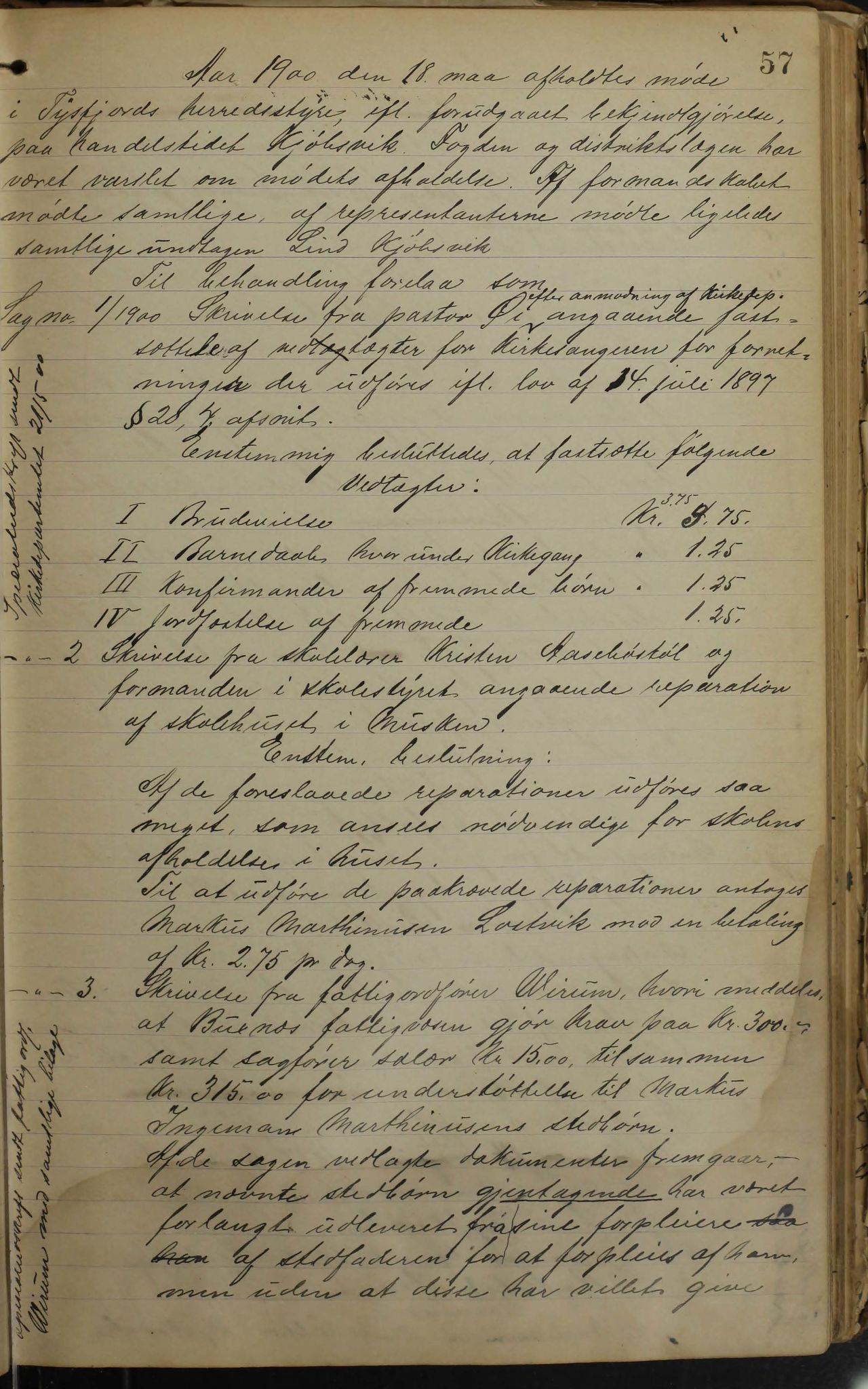 AIN, Tysfjord kommune. Formannskapet, 100/L0002: Forhandlingsprotokoll for Tysfjordens formandskap, 1895-1912, s. 57