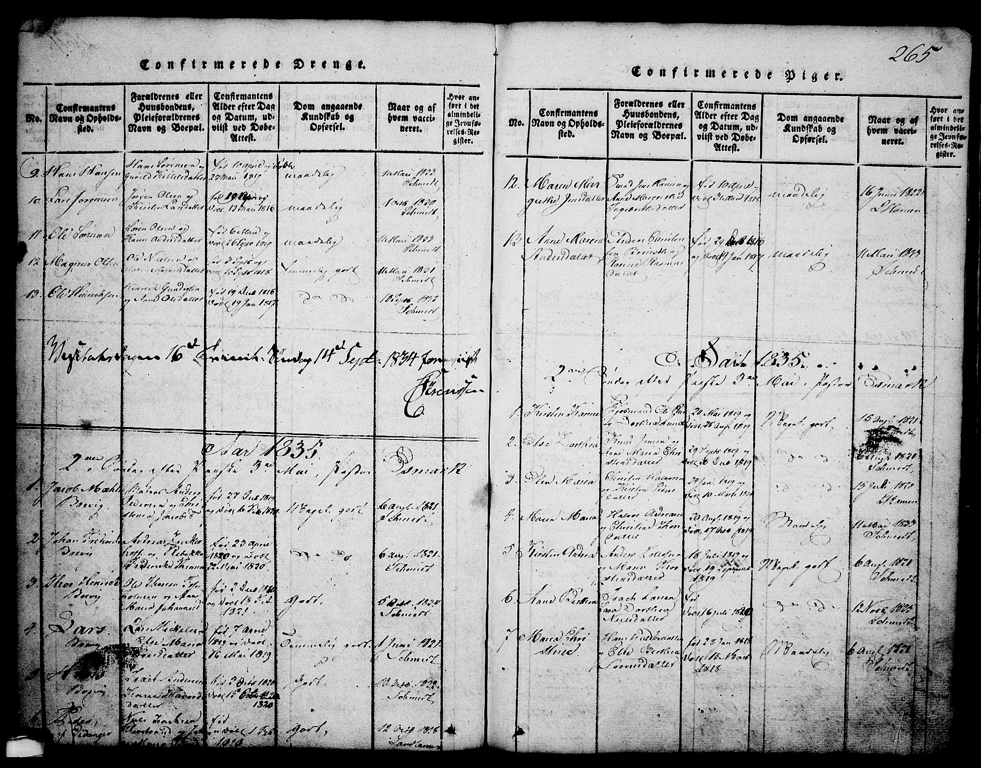 SAKO, Brevik kirkebøker, G/Ga/L0001: Klokkerbok nr. 1, 1814-1845, s. 265
