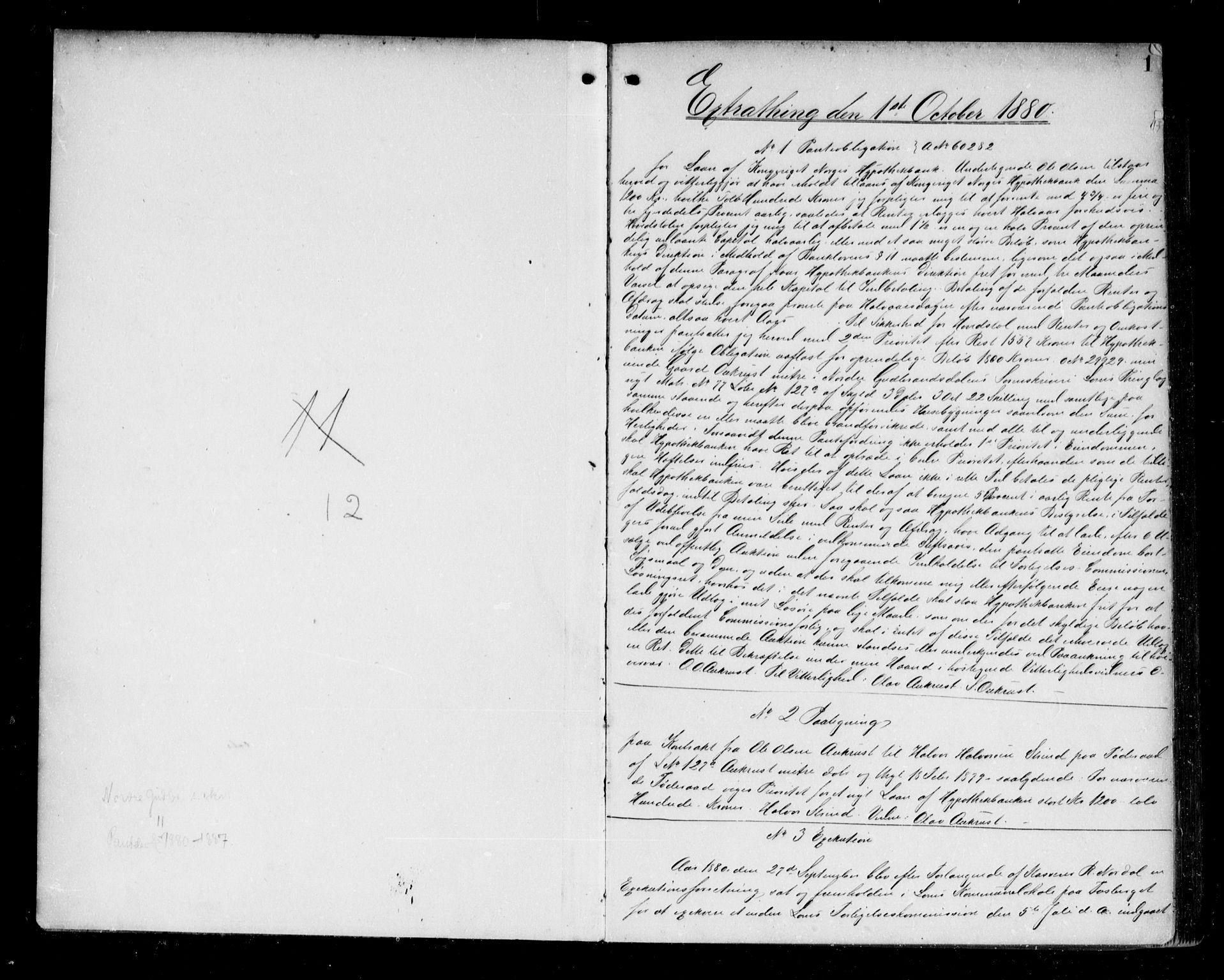 SAH, Nord-Gudbrandsdal tingrett, H/Hb/Hba/L0011: Pantebok nr. 11, 1880-1887, s. 1