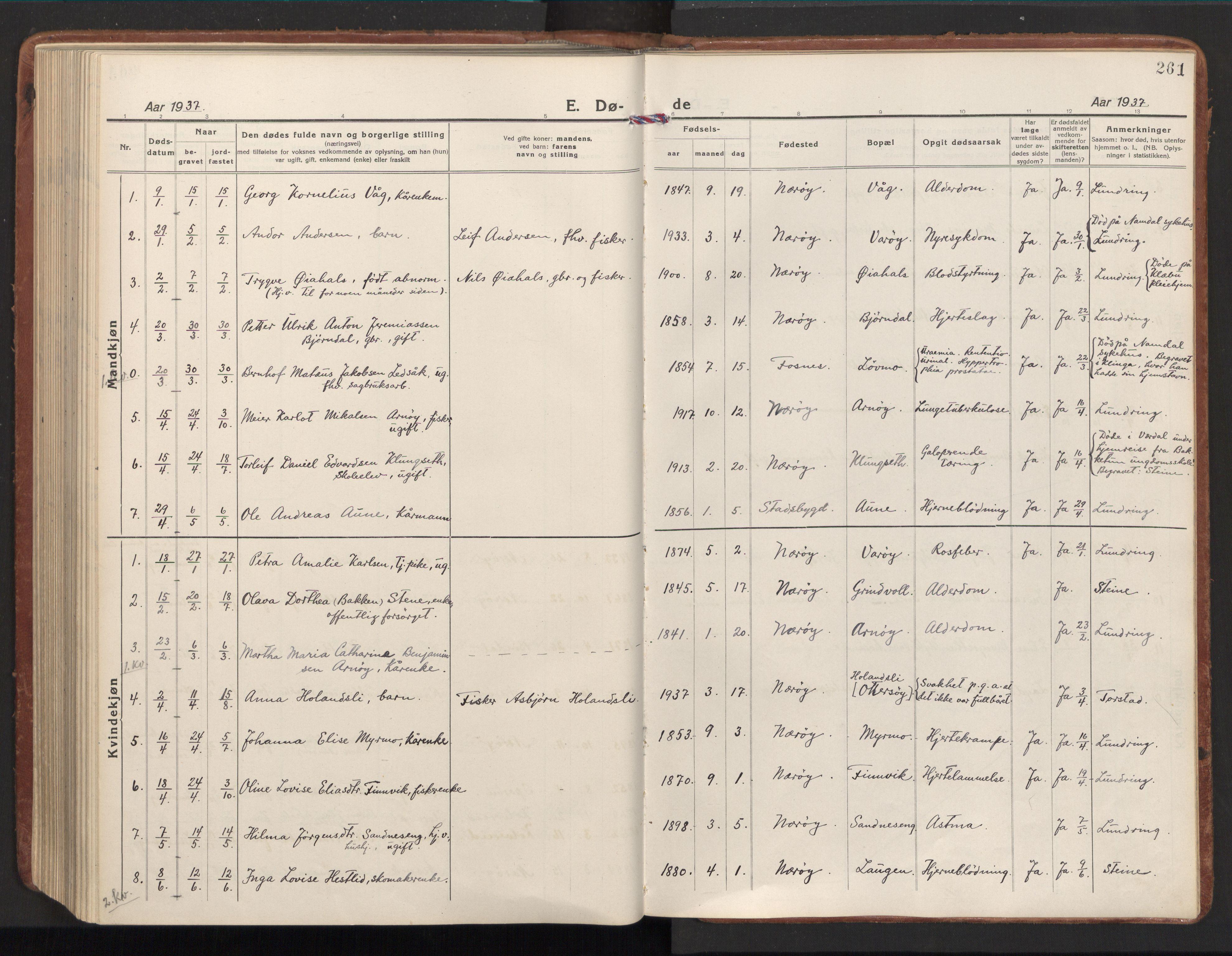 SAT, Ministerialprotokoller, klokkerbøker og fødselsregistre - Nord-Trøndelag, 784/L0678: Ministerialbok nr. 784A13, 1921-1938, s. 261
