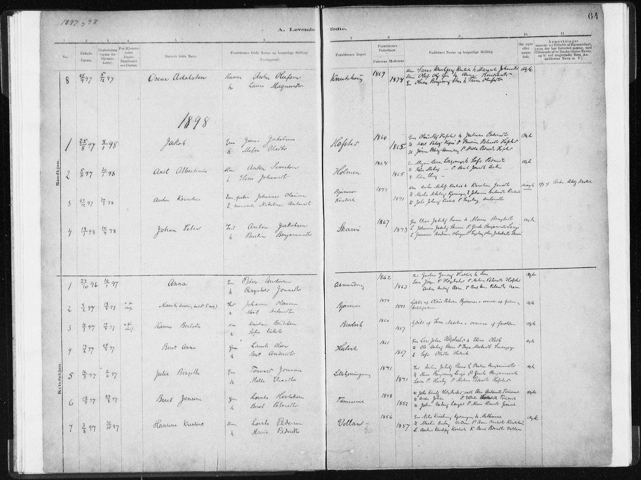 SAT, Ministerialprotokoller, klokkerbøker og fødselsregistre - Sør-Trøndelag, 634/L0533: Ministerialbok nr. 634A09, 1882-1901, s. 64