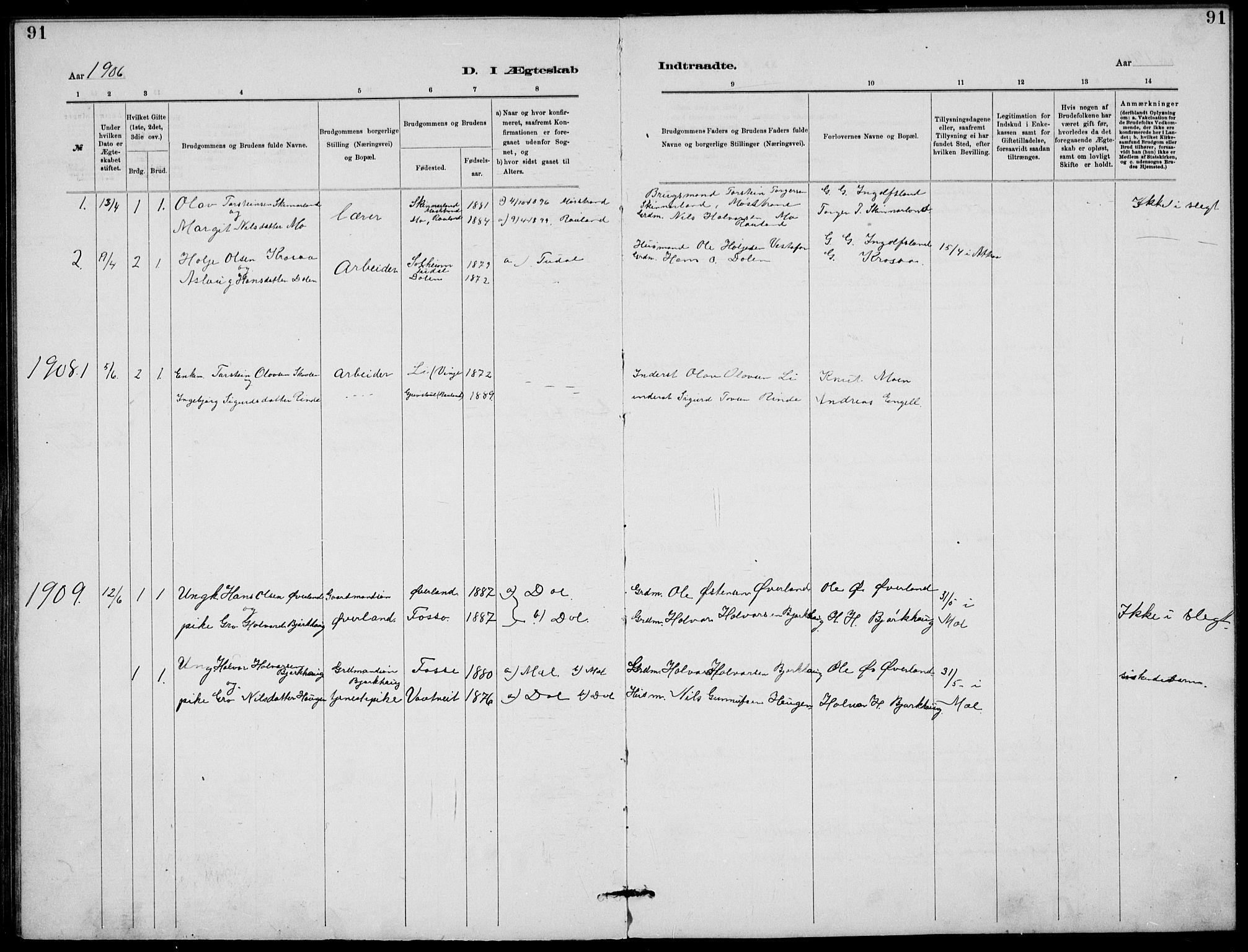 SAKO, Rjukan kirkebøker, G/Ga/L0001: Klokkerbok nr. 1, 1880-1914, s. 91
