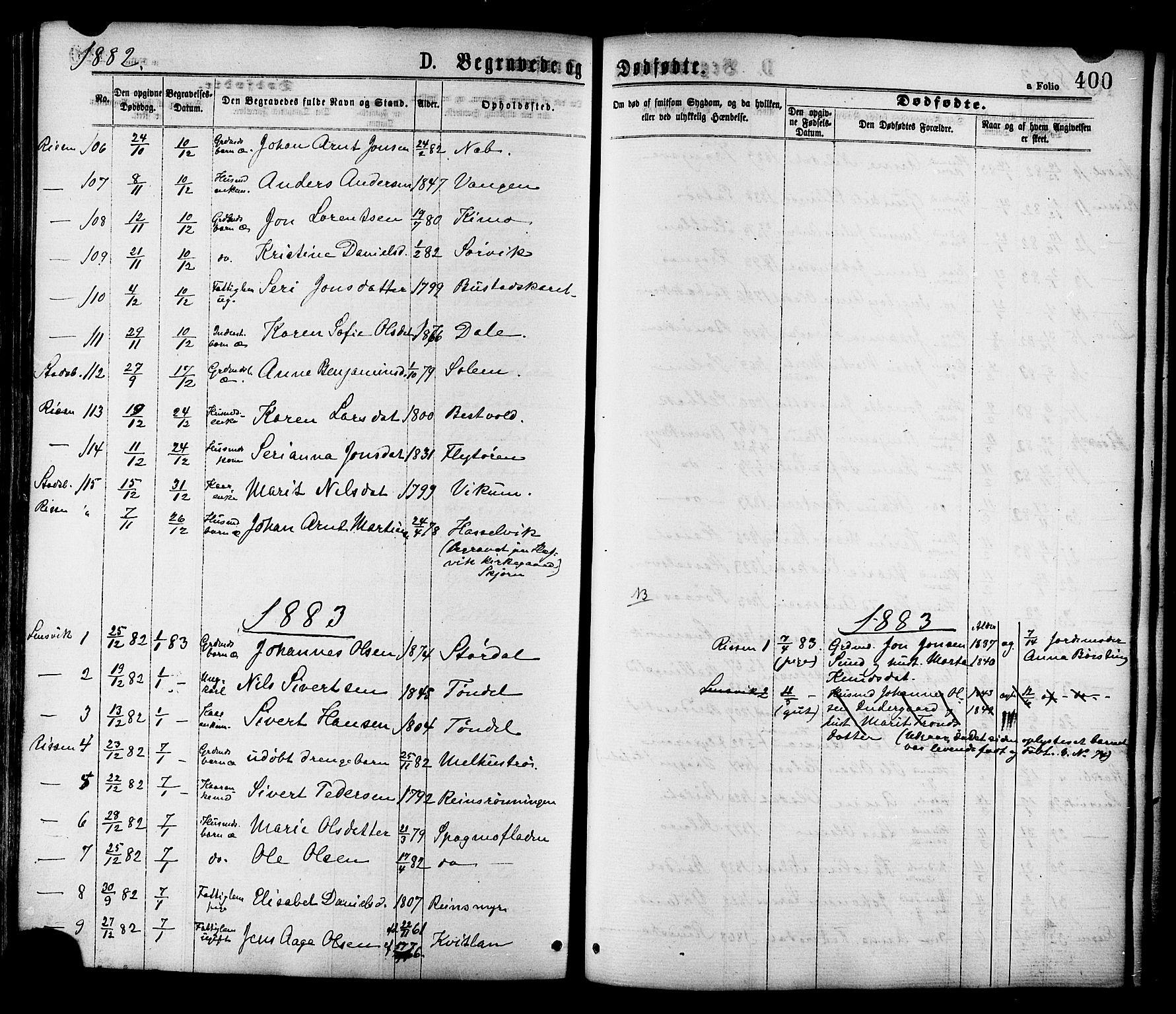 SAT, Ministerialprotokoller, klokkerbøker og fødselsregistre - Sør-Trøndelag, 646/L0613: Ministerialbok nr. 646A11, 1870-1884, s. 400