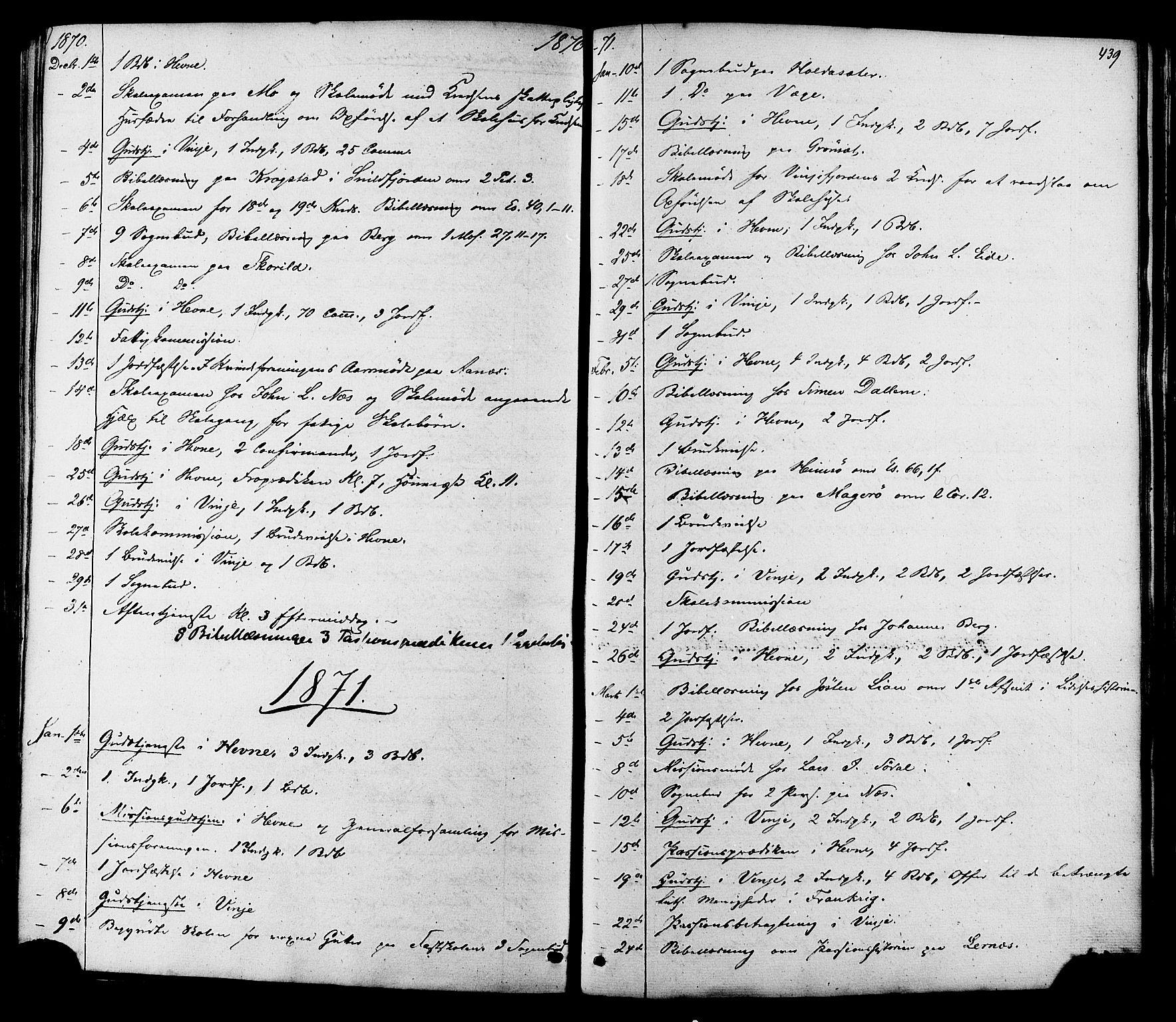 SAT, Ministerialprotokoller, klokkerbøker og fødselsregistre - Sør-Trøndelag, 630/L0495: Ministerialbok nr. 630A08, 1868-1878, s. 439