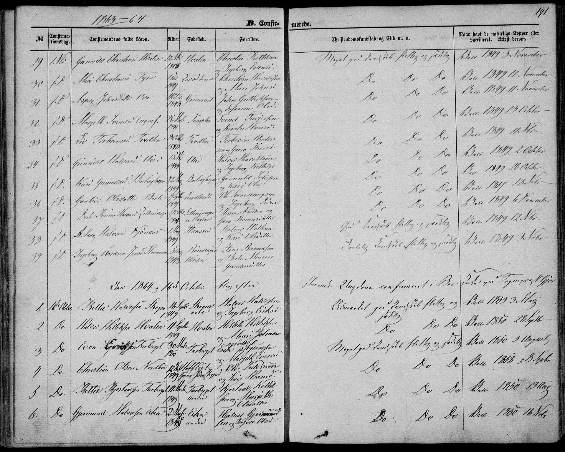 SAKO, Bø kirkebøker, F/Fa/L0009: Ministerialbok nr. 9, 1862-1879, s. 191