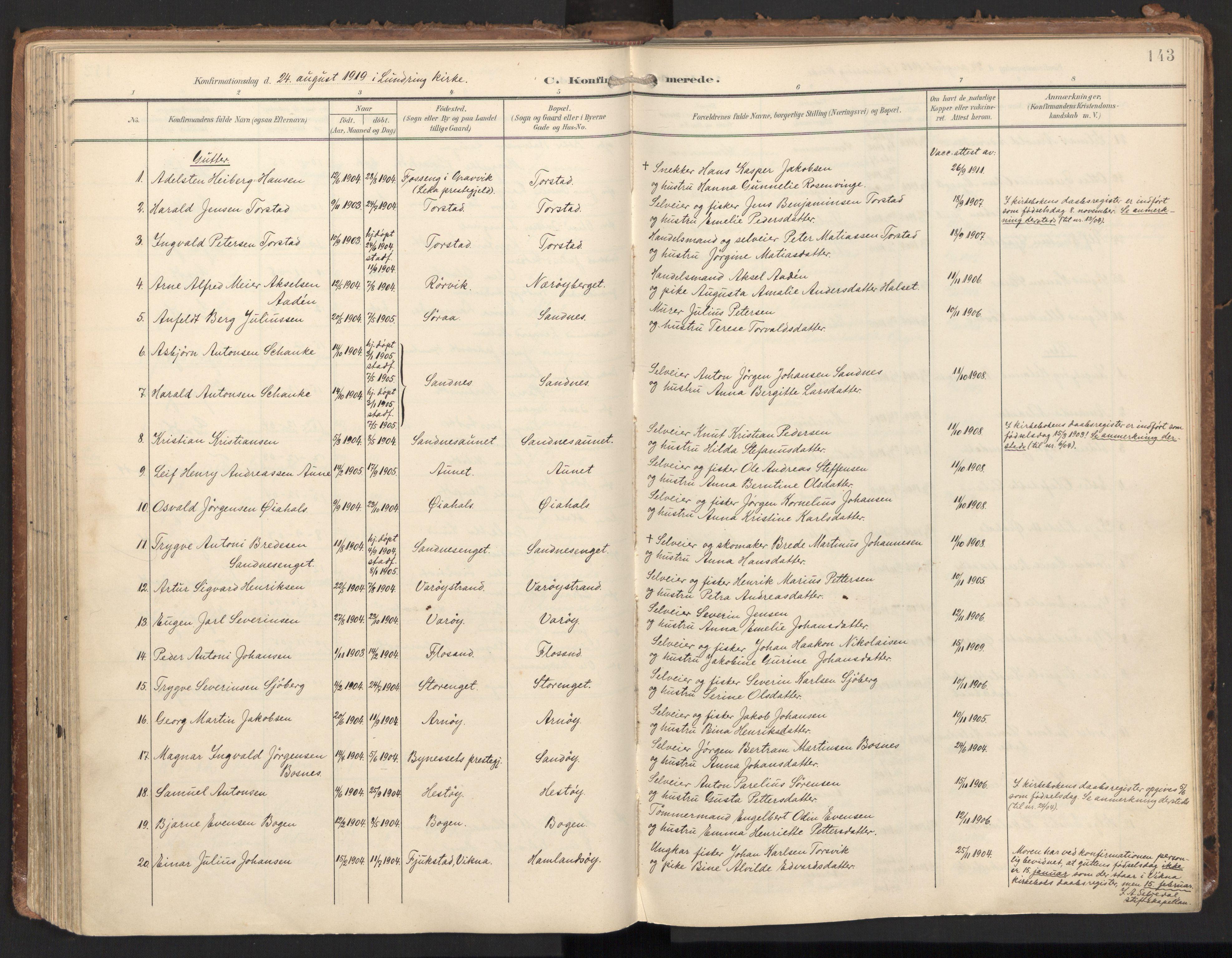 SAT, Ministerialprotokoller, klokkerbøker og fødselsregistre - Nord-Trøndelag, 784/L0677: Ministerialbok nr. 784A12, 1900-1920, s. 143