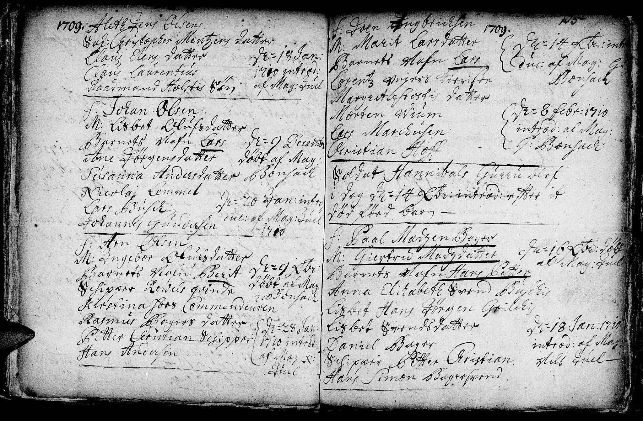 SAT, Ministerialprotokoller, klokkerbøker og fødselsregistre - Sør-Trøndelag, 601/L0034: Ministerialbok nr. 601A02, 1702-1714, s. 145