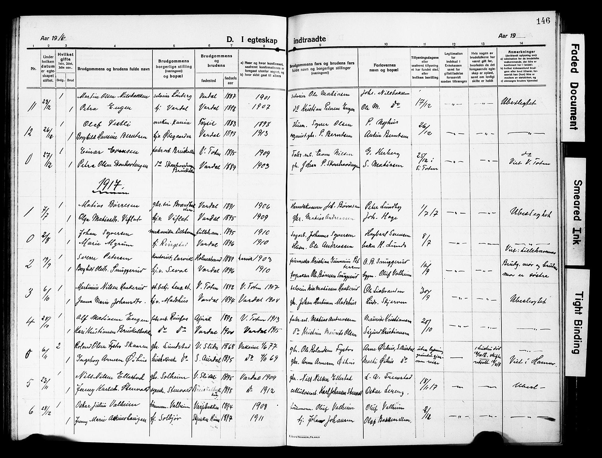 SAH, Vardal prestekontor, H/Ha/Hab/L0015: Klokkerbok nr. 15, 1914-1931, s. 146