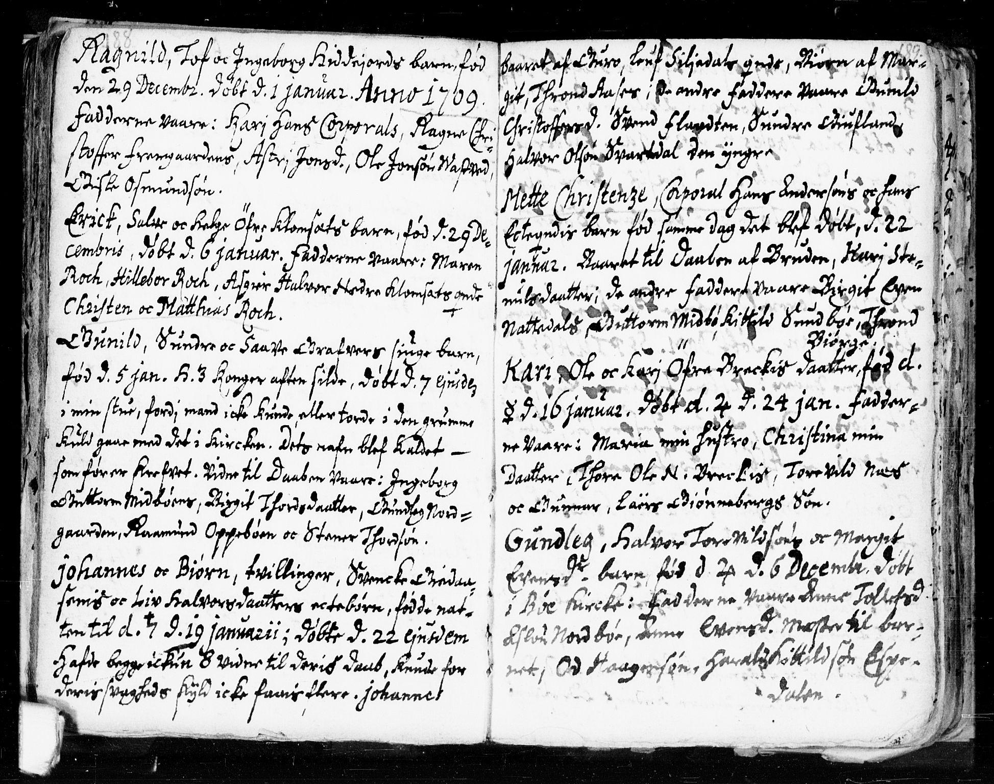 SAKO, Seljord kirkebøker, F/Fa/L0002: Ministerialbok nr. I 2, 1689-1713, s. 188-189