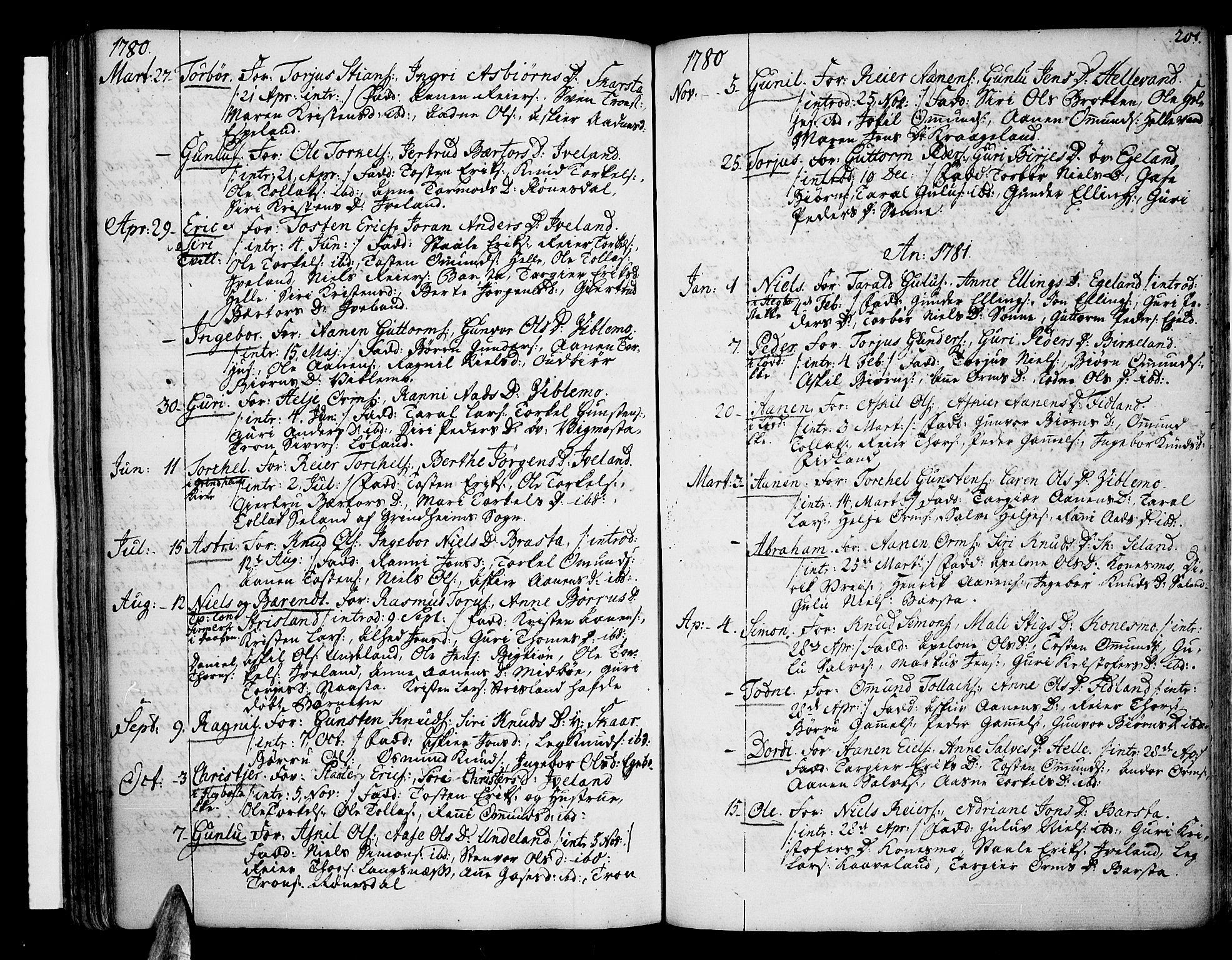 SAK, Sør-Audnedal sokneprestkontor, F/Fa/Fab/L0002: Ministerialbok nr. A 2 /4, 1768-1814, s. 201