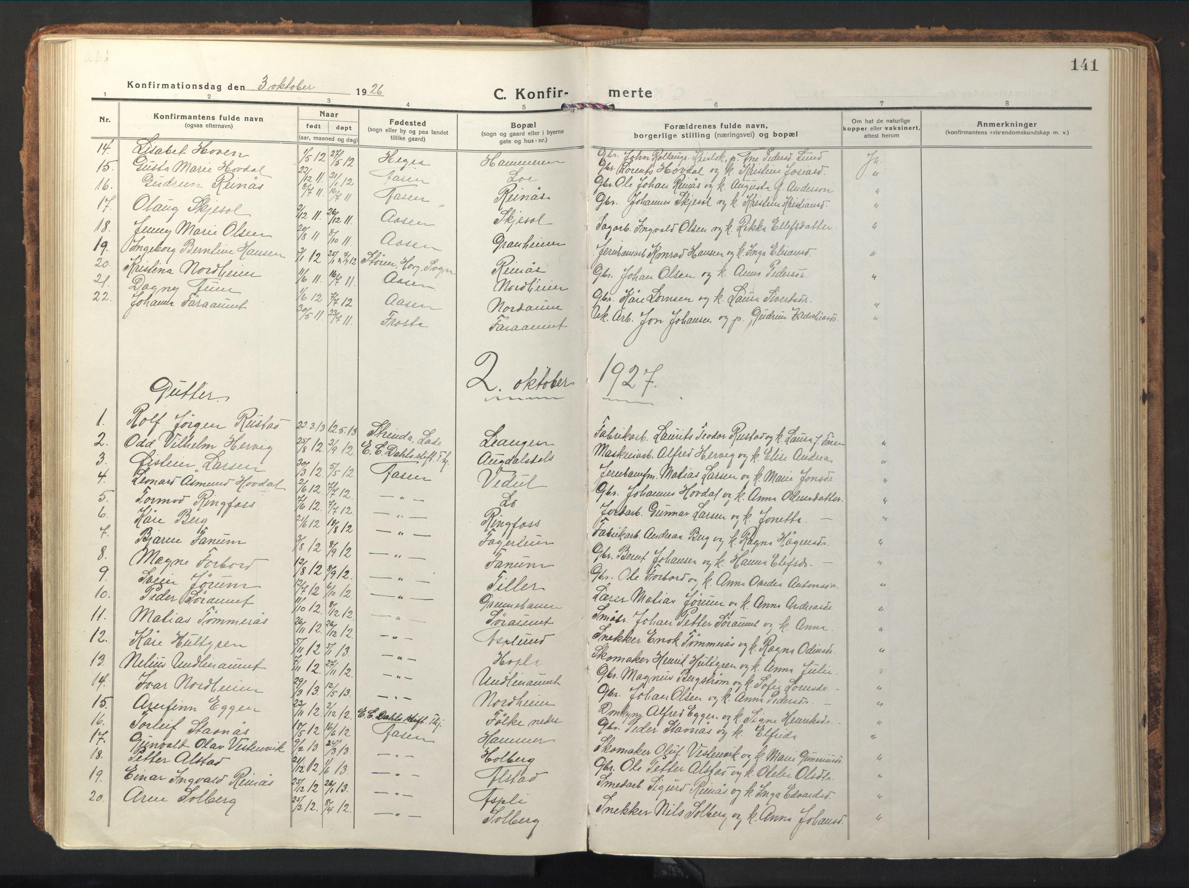SAT, Ministerialprotokoller, klokkerbøker og fødselsregistre - Nord-Trøndelag, 714/L0136: Klokkerbok nr. 714C05, 1918-1957, s. 141