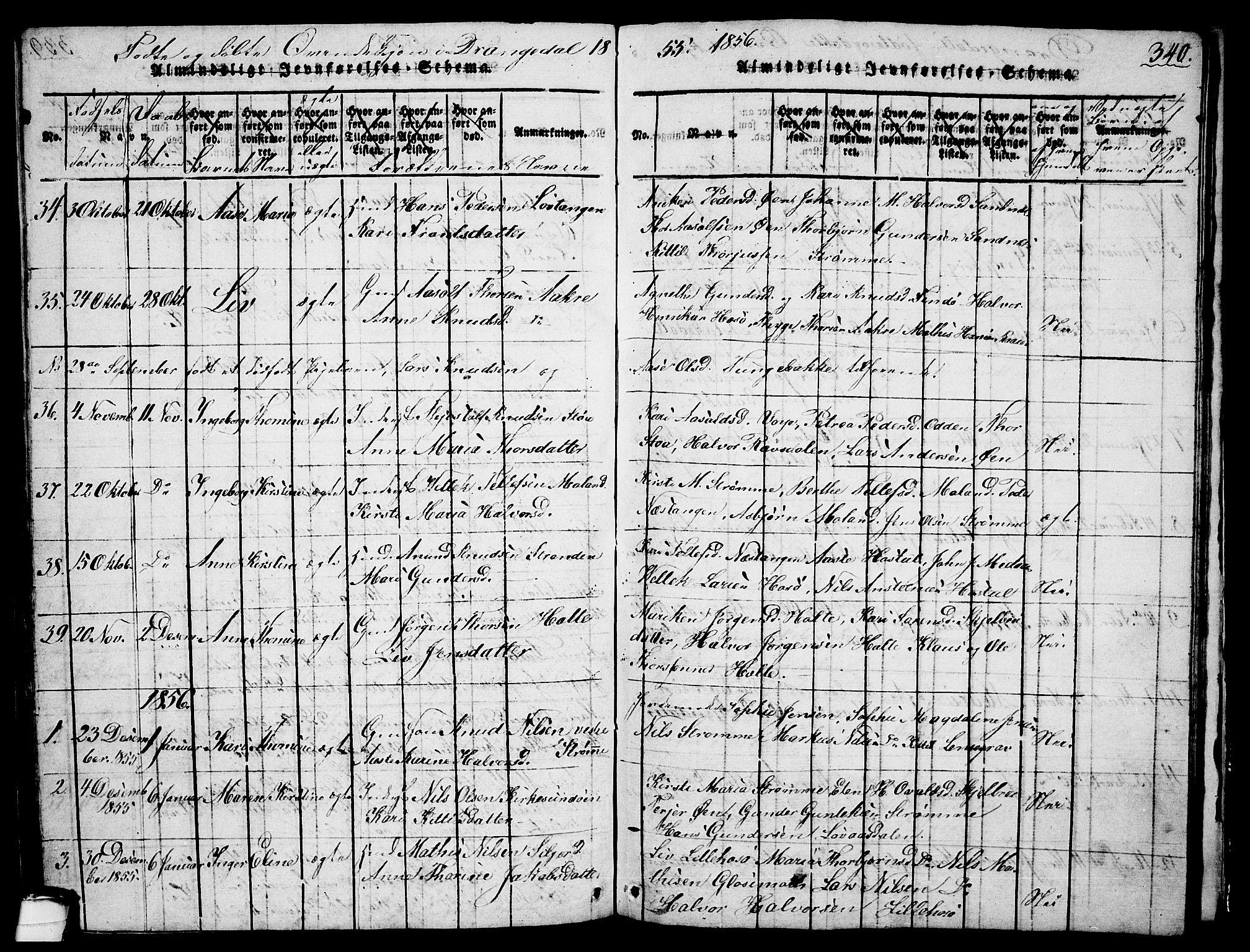 SAKO, Drangedal kirkebøker, G/Ga/L0001: Klokkerbok nr. I 1 /1, 1814-1856, s. 340