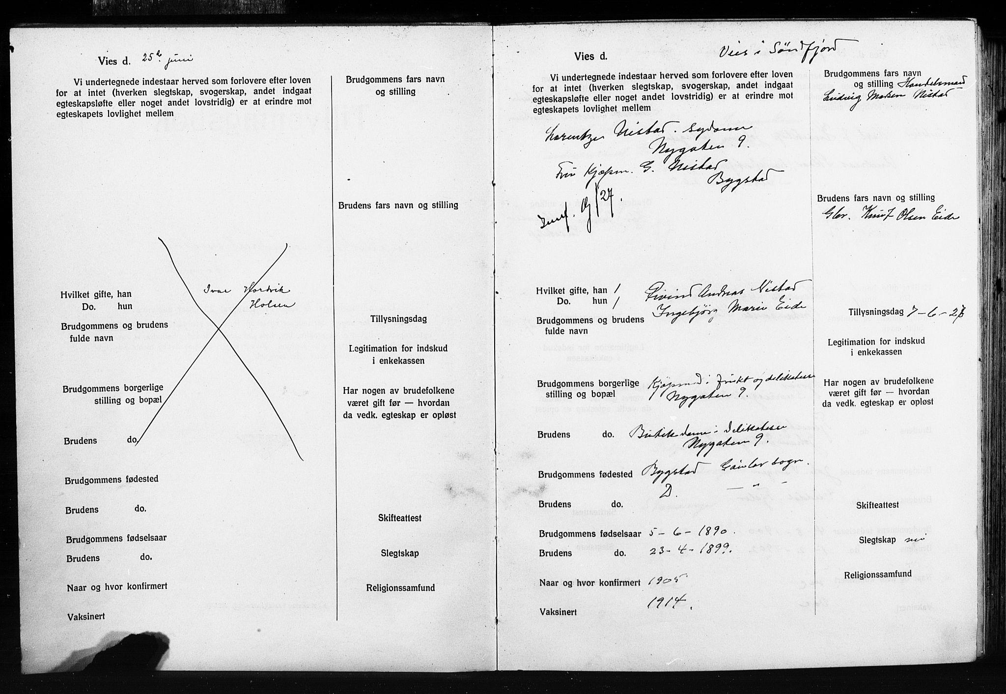 SAB, Domkirken Sokneprestembete, Forlovererklæringer nr. II.5.15, 1927-1932, s. 2