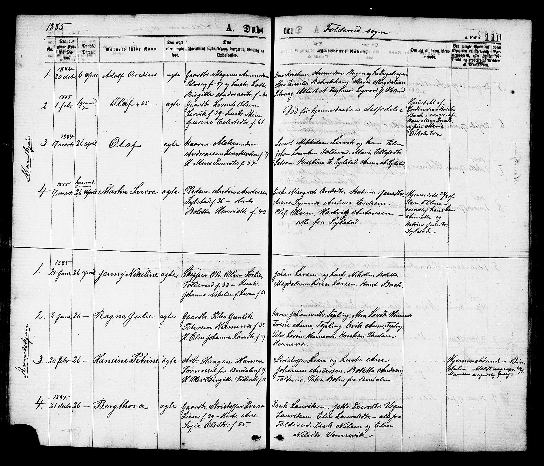SAT, Ministerialprotokoller, klokkerbøker og fødselsregistre - Nord-Trøndelag, 780/L0642: Ministerialbok nr. 780A07 /2, 1878-1885, s. 110