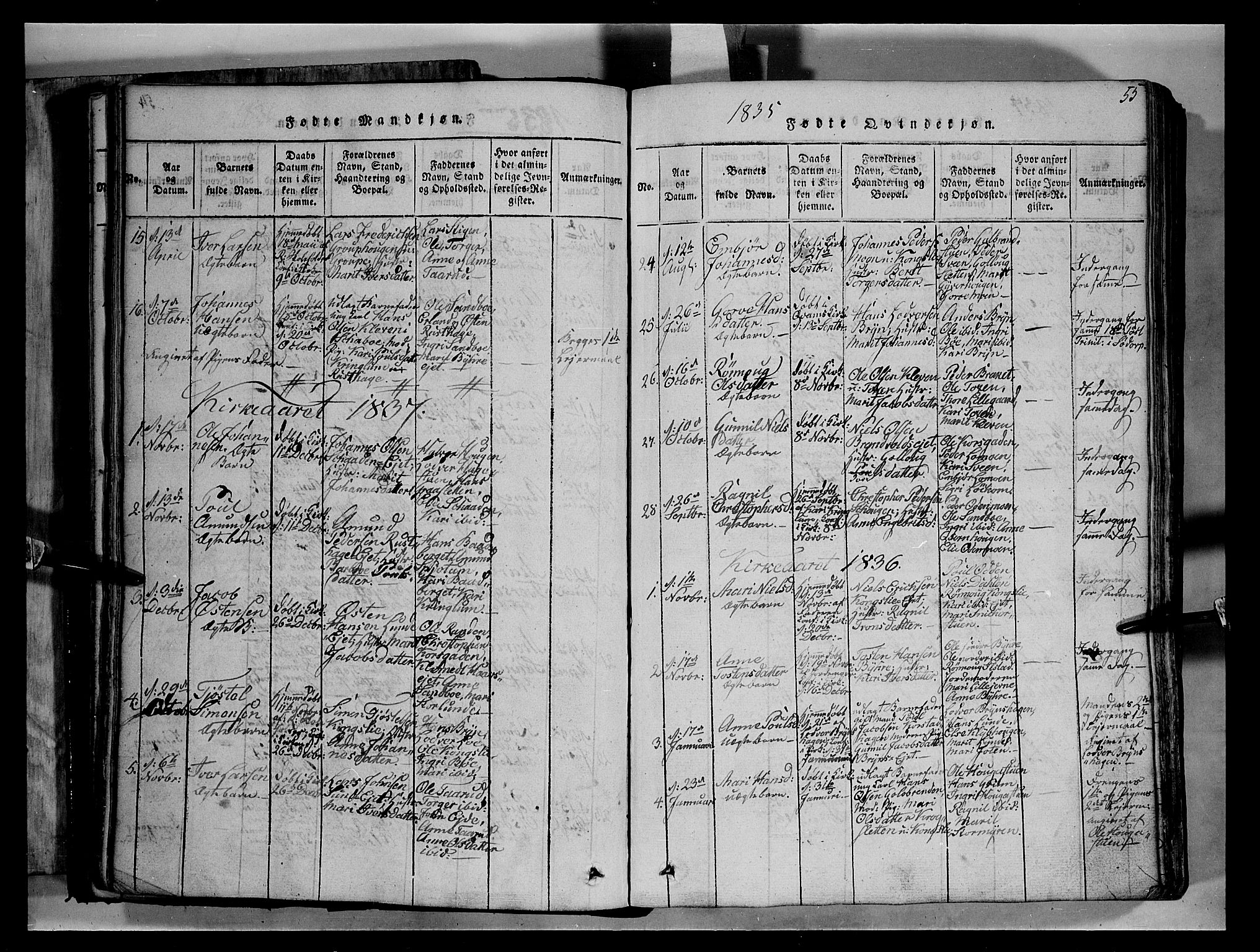 SAH, Fron prestekontor, H/Ha/Hab/L0004: Klokkerbok nr. 4, 1816-1850, s. 55