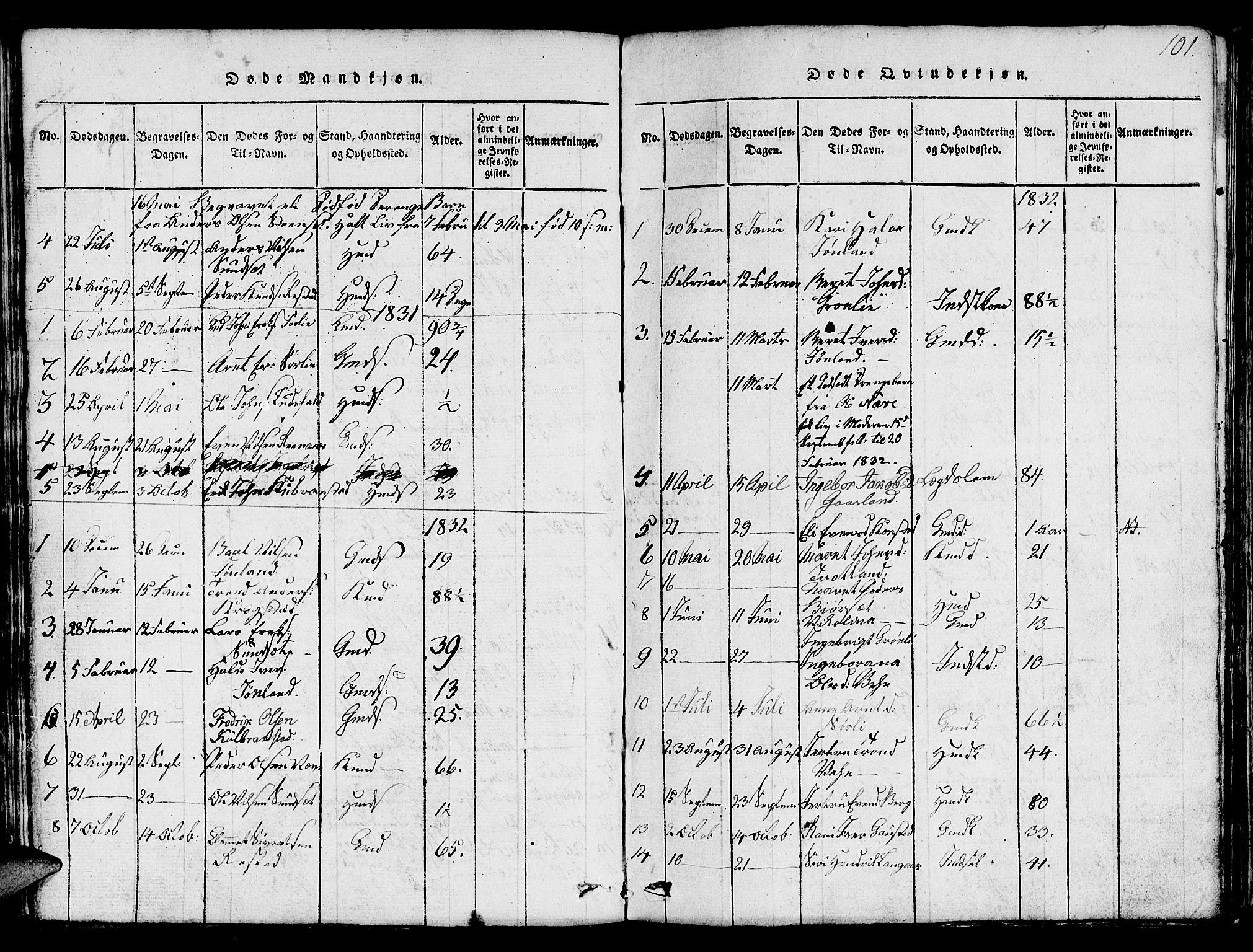 SAT, Ministerialprotokoller, klokkerbøker og fødselsregistre - Sør-Trøndelag, 694/L1130: Klokkerbok nr. 694C02, 1816-1857, s. 101