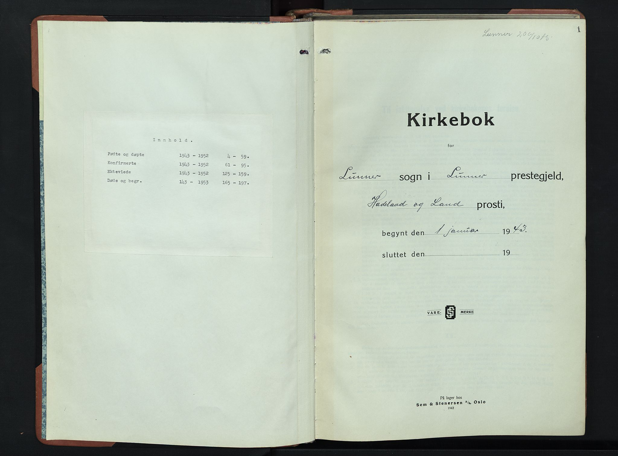 SAH, Lunner prestekontor, H/Ha/Hab/L0004: Klokkerbok nr. 4, 1943-1952, s. 1