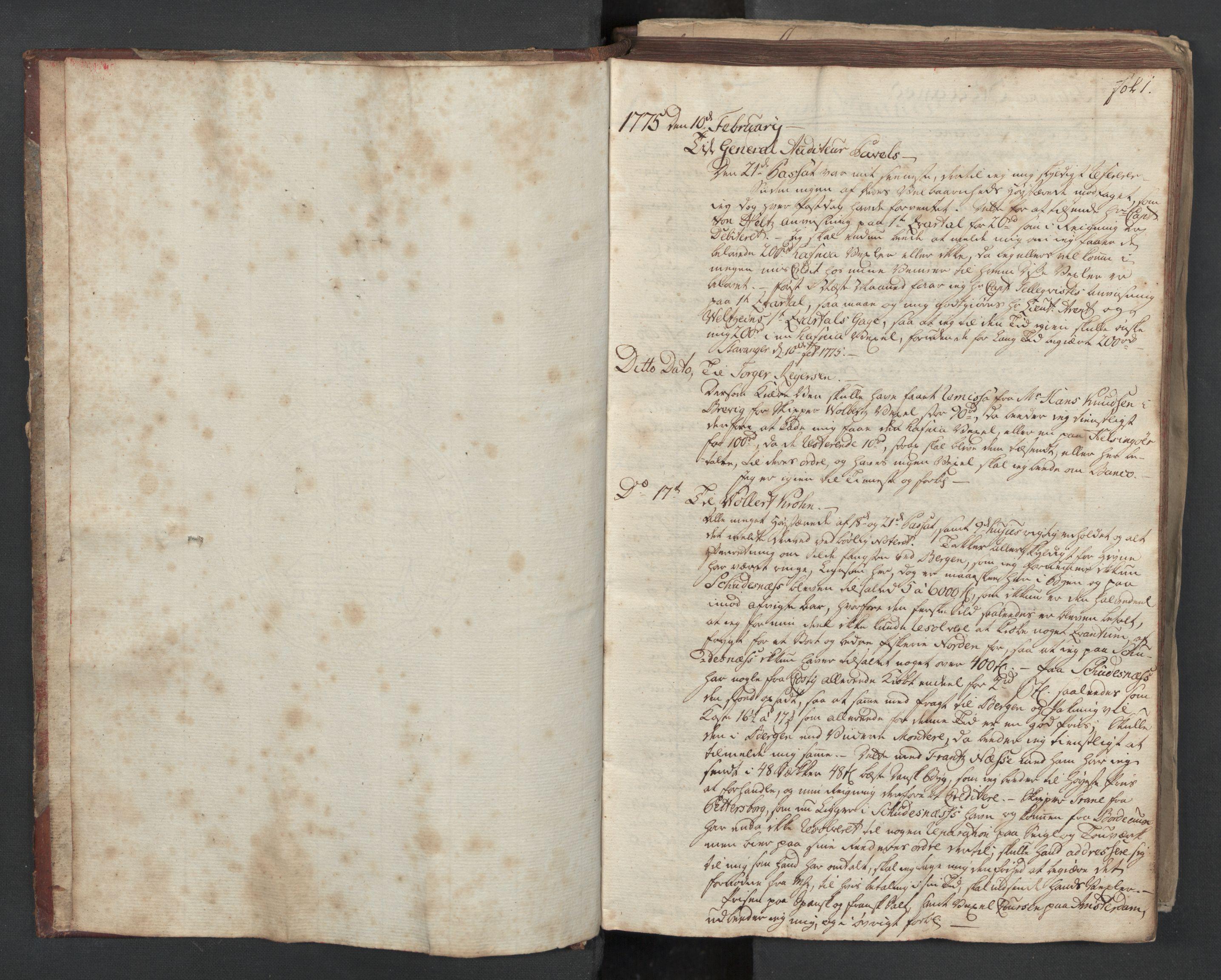 SAST, Pa 0003 - Ploug & Sundt, handelshuset, B/L0003: Kopibok, 1775-1780, s. 1a