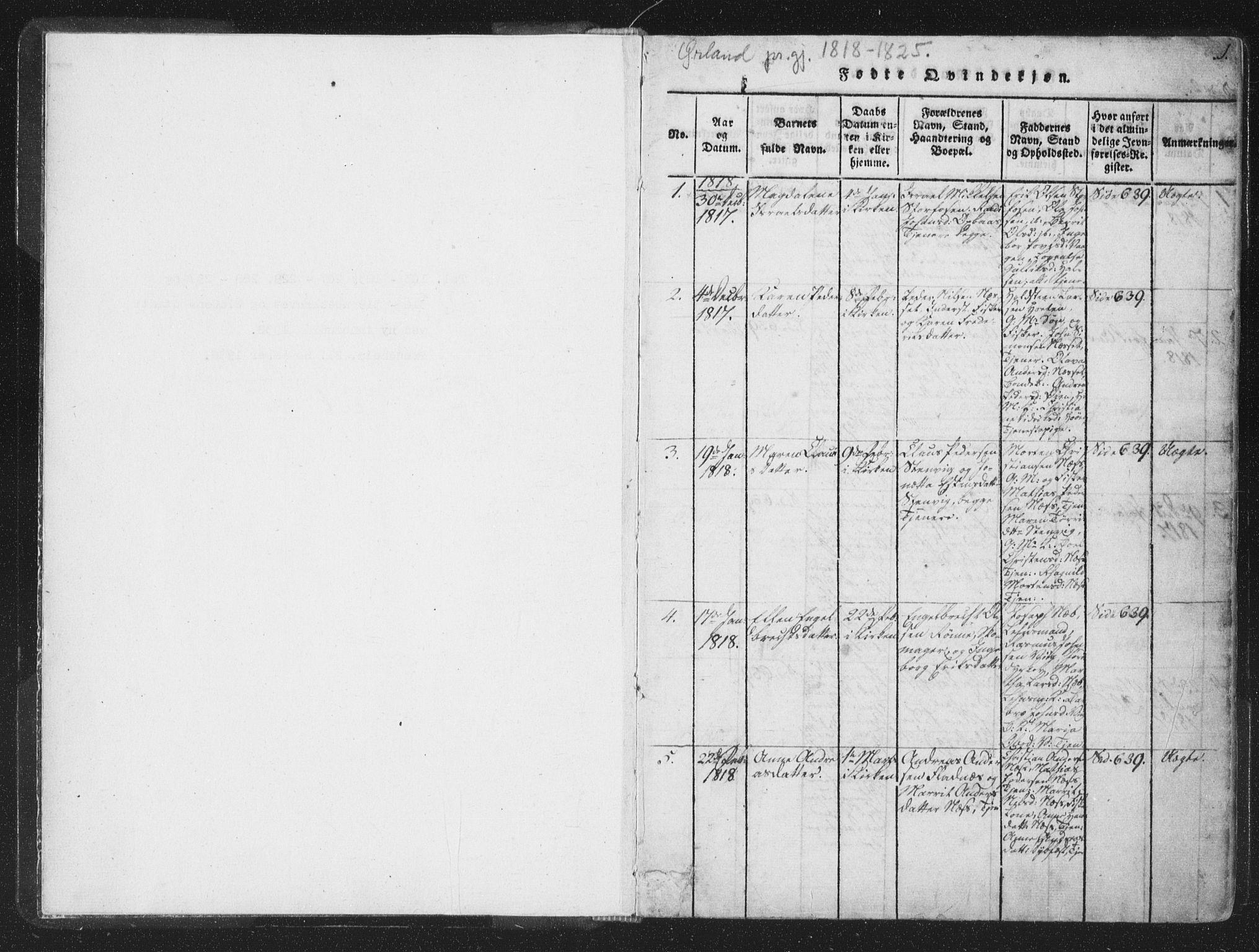 SAT, Ministerialprotokoller, klokkerbøker og fødselsregistre - Sør-Trøndelag, 659/L0734: Ministerialbok nr. 659A04, 1818-1825, s. 0-1