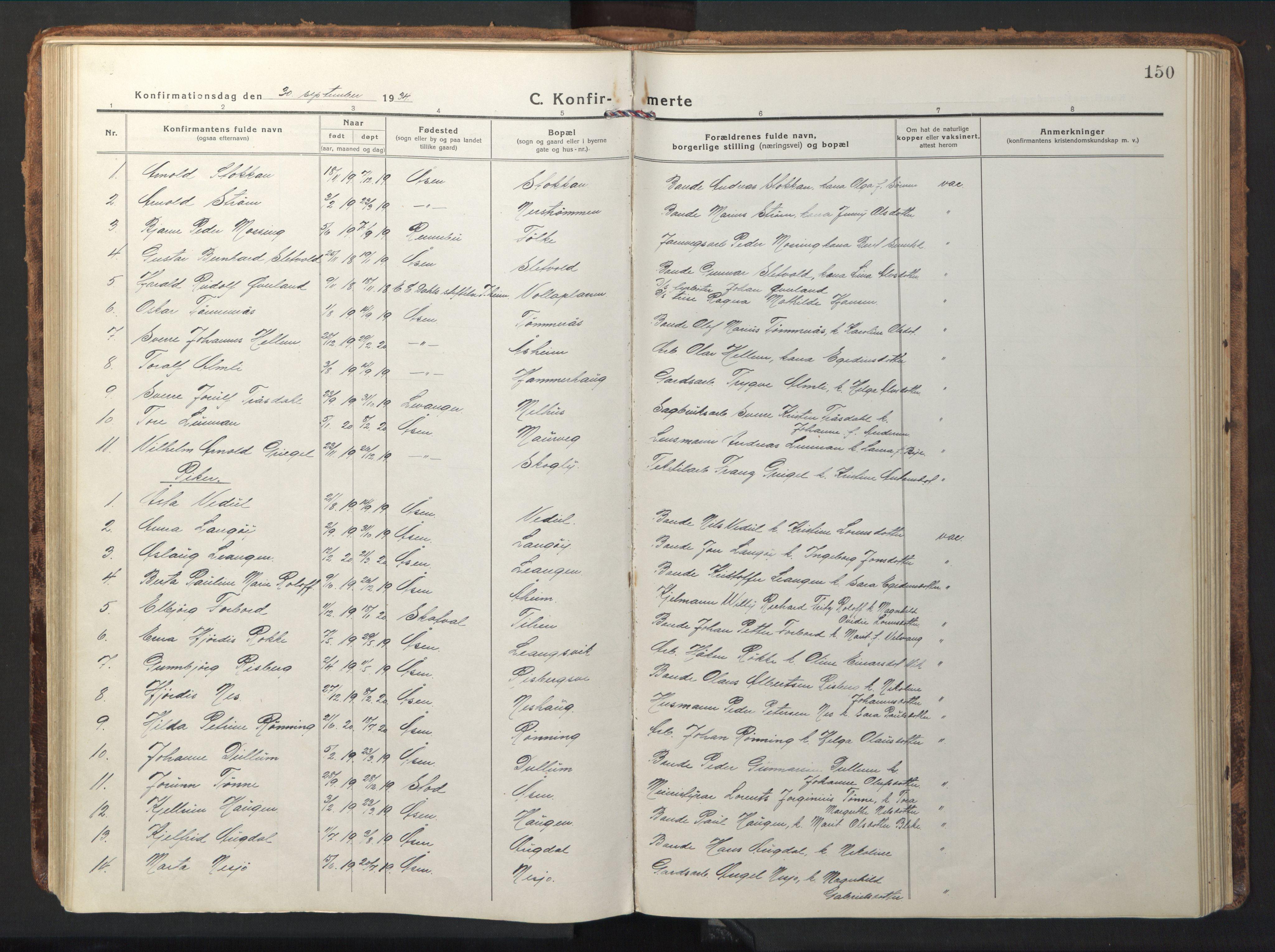 SAT, Ministerialprotokoller, klokkerbøker og fødselsregistre - Nord-Trøndelag, 714/L0136: Klokkerbok nr. 714C05, 1918-1957, s. 150