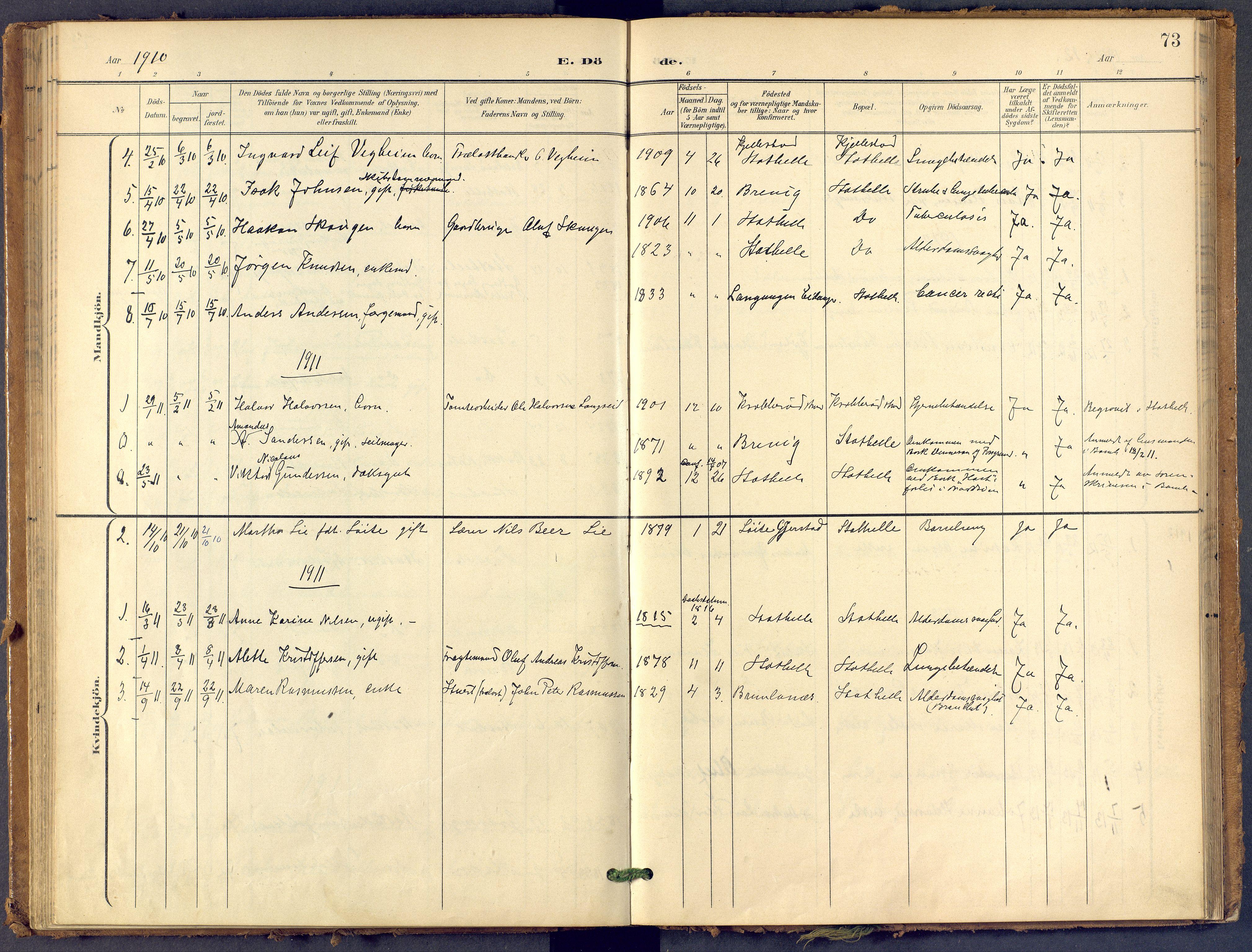 SAKO, Bamble kirkebøker, F/Fb/L0002: Ministerialbok nr. II 2, 1900-1921, s. 73