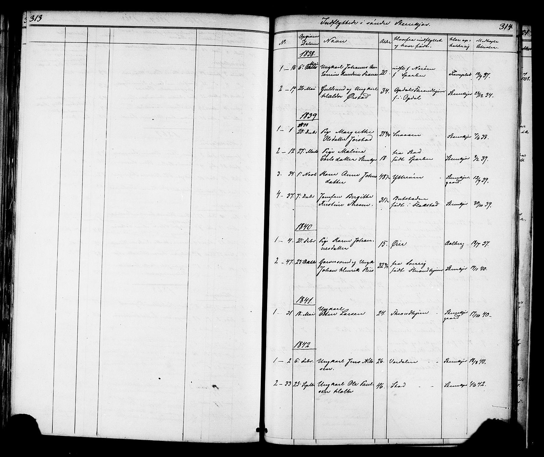 SAT, Ministerialprotokoller, klokkerbøker og fødselsregistre - Nord-Trøndelag, 739/L0367: Ministerialbok nr. 739A01 /1, 1838-1868, s. 313-314