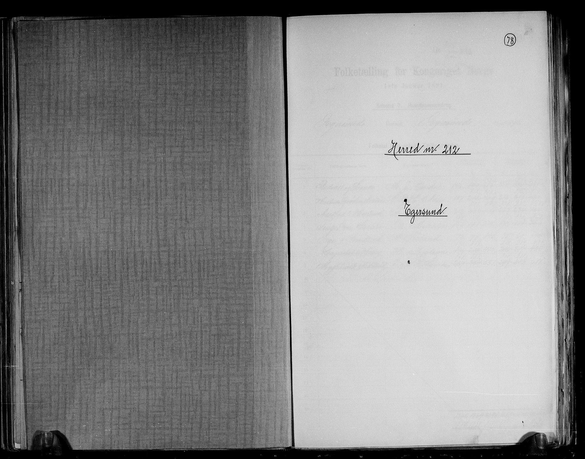 RA, Folketelling 1891 for 1116 Eigersund herred, 1891, s. 1