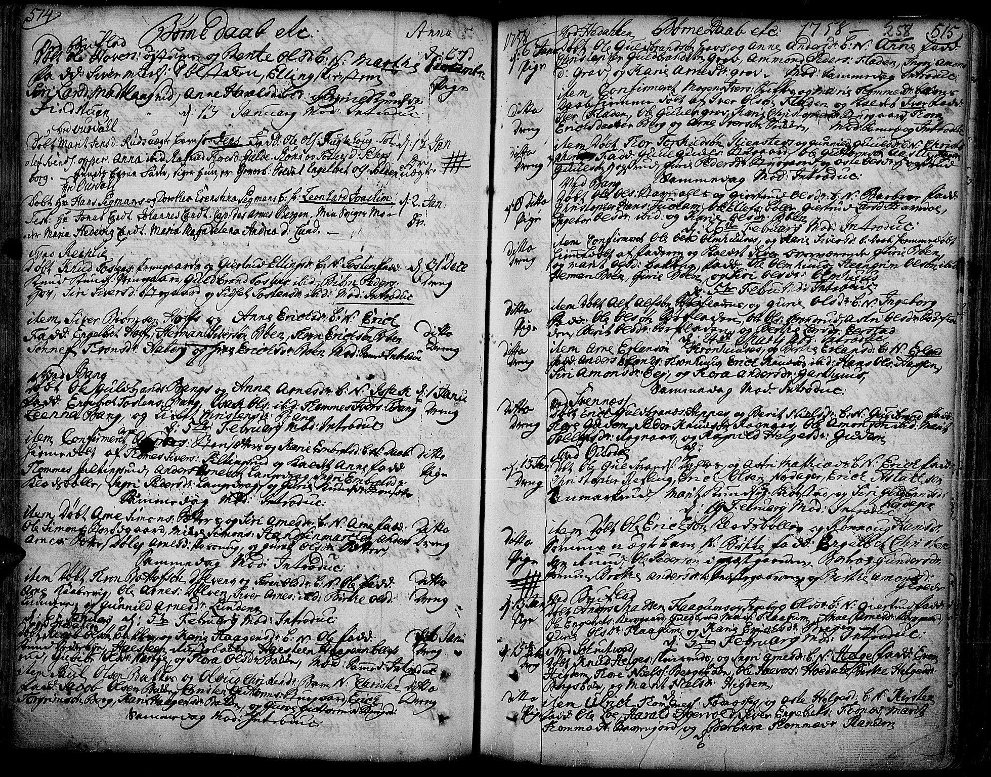SAH, Aurdal prestekontor, Ministerialbok nr. 4, 1730-1762, s. 514-515