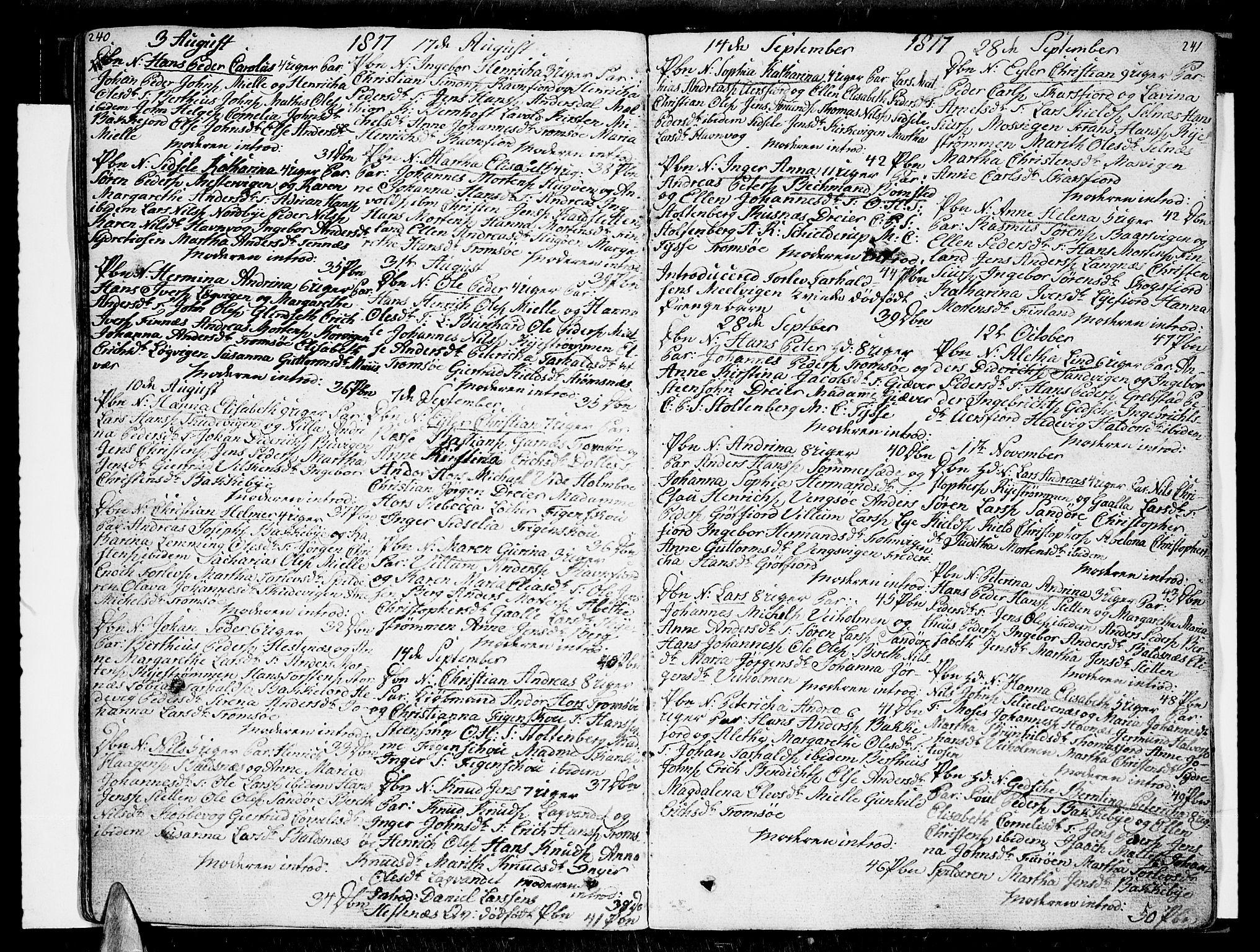 SATØ, Tromsø sokneprestkontor/stiftsprosti/domprosti, G/Ga/L0006kirke: Ministerialbok nr. 6, 1806-1821, s. 240-241