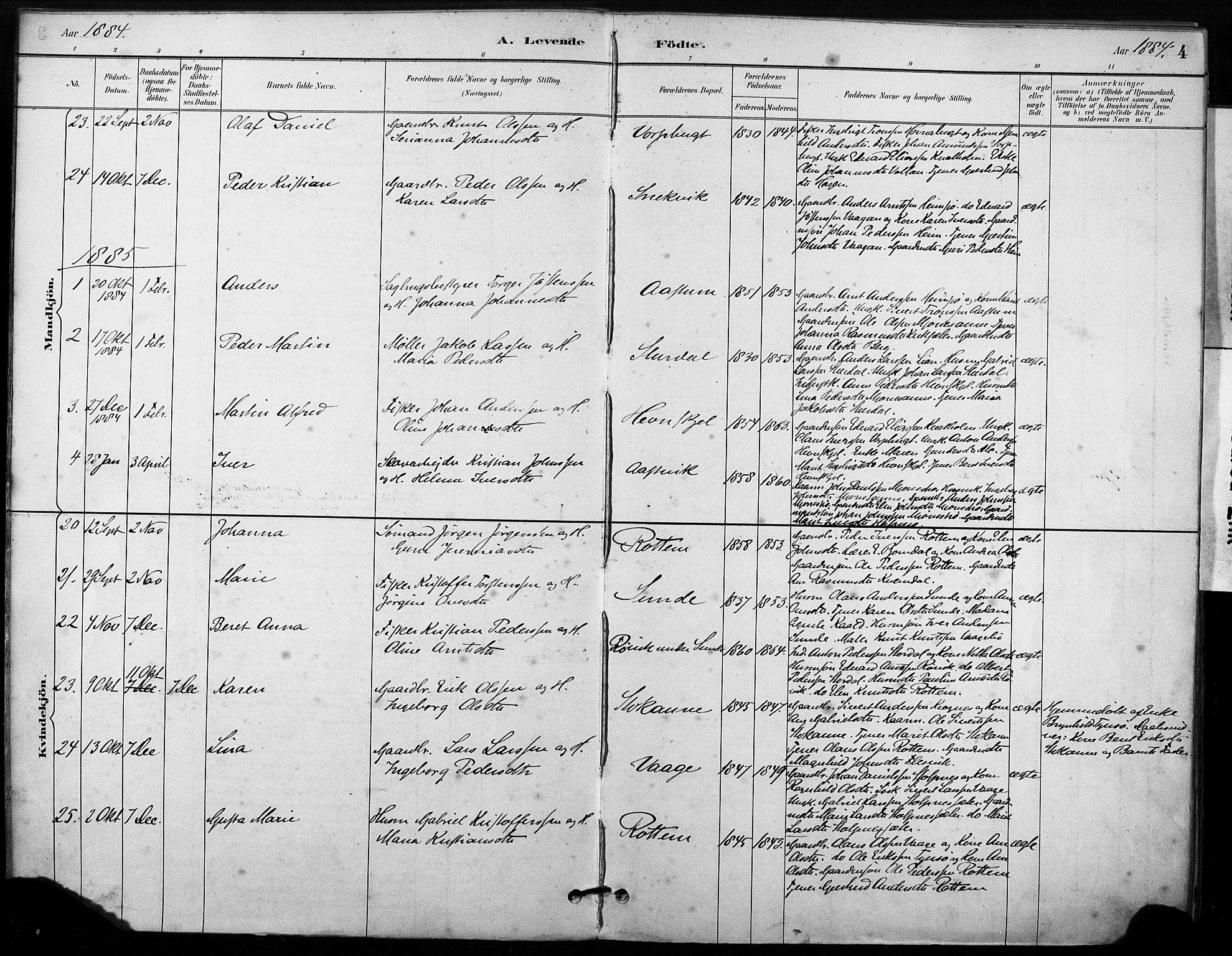 SAT, Ministerialprotokoller, klokkerbøker og fødselsregistre - Sør-Trøndelag, 633/L0518: Ministerialbok nr. 633A01, 1884-1906, s. 4