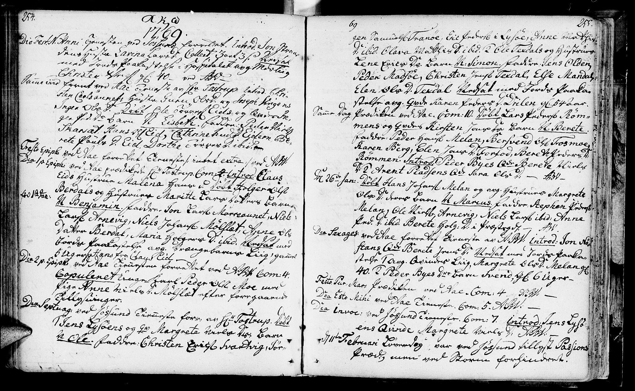 SAT, Ministerialprotokoller, klokkerbøker og fødselsregistre - Sør-Trøndelag, 655/L0672: Ministerialbok nr. 655A01, 1750-1779, s. 254-255