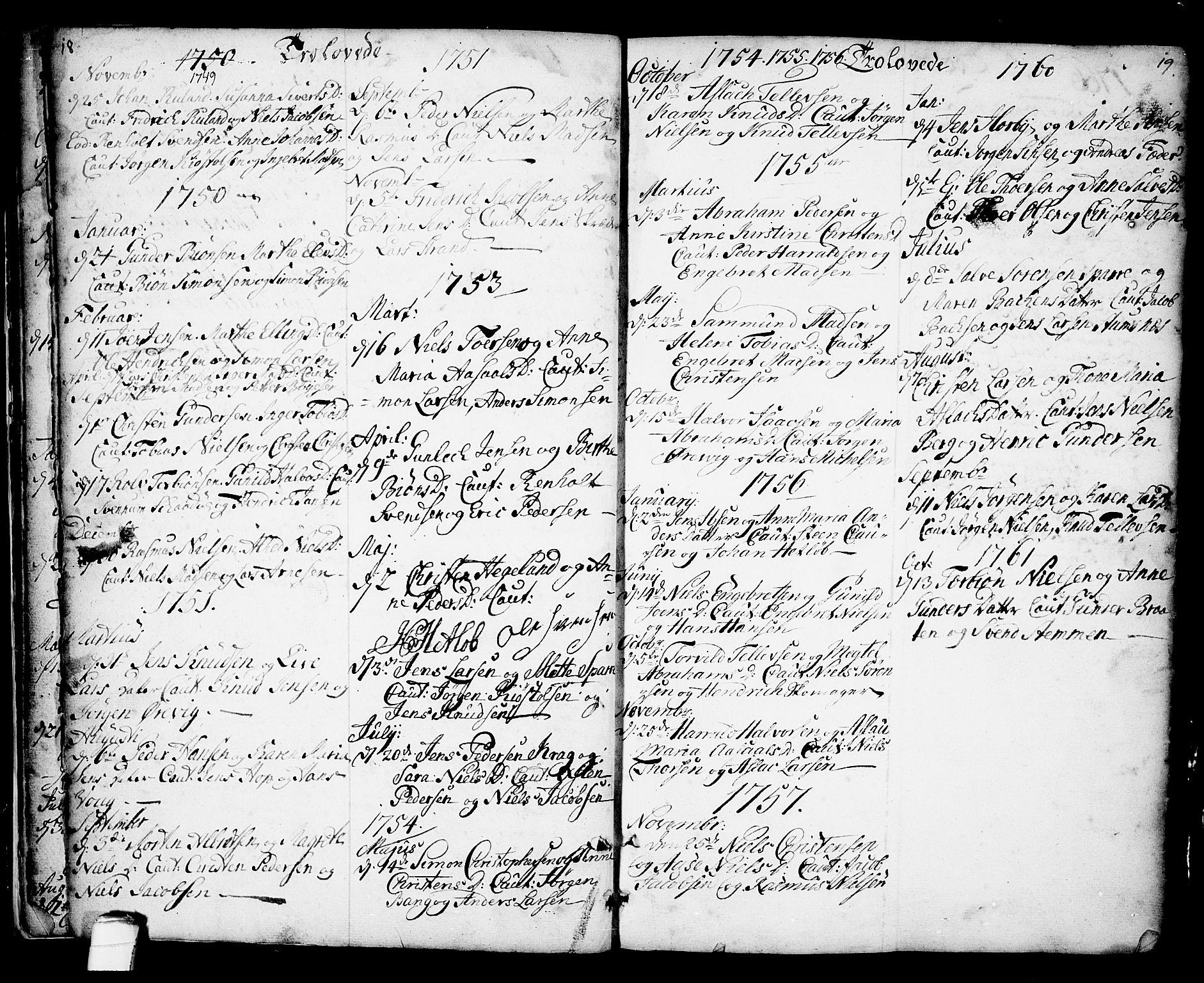 SAKO, Kragerø kirkebøker, F/Fa/L0001: Ministerialbok nr. 1, 1702-1766, s. 18-19