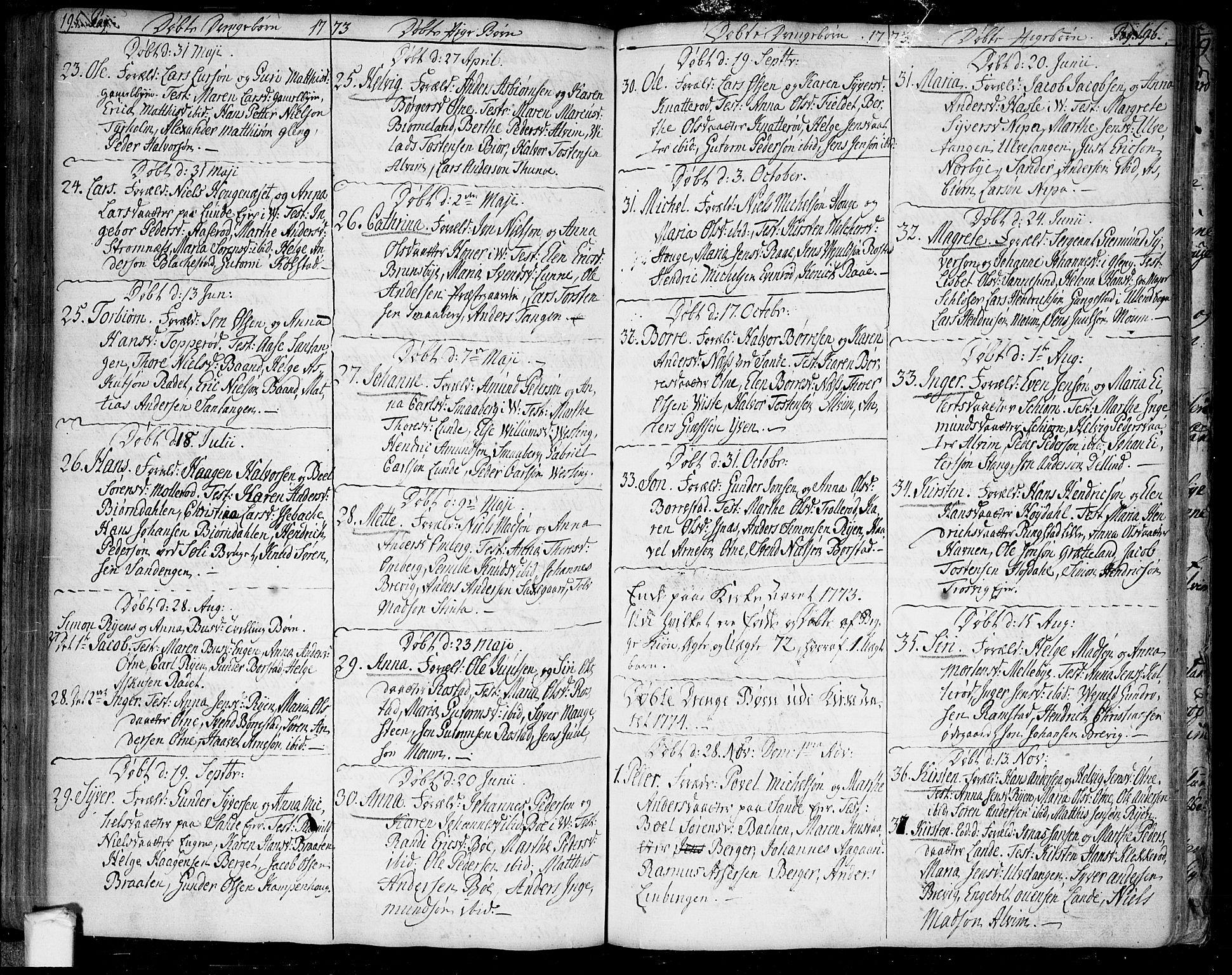 SAO, Tune prestekontor Kirkebøker, F/Fa/L0002: Ministerialbok nr. 2, 1758-1781, s. 195-196