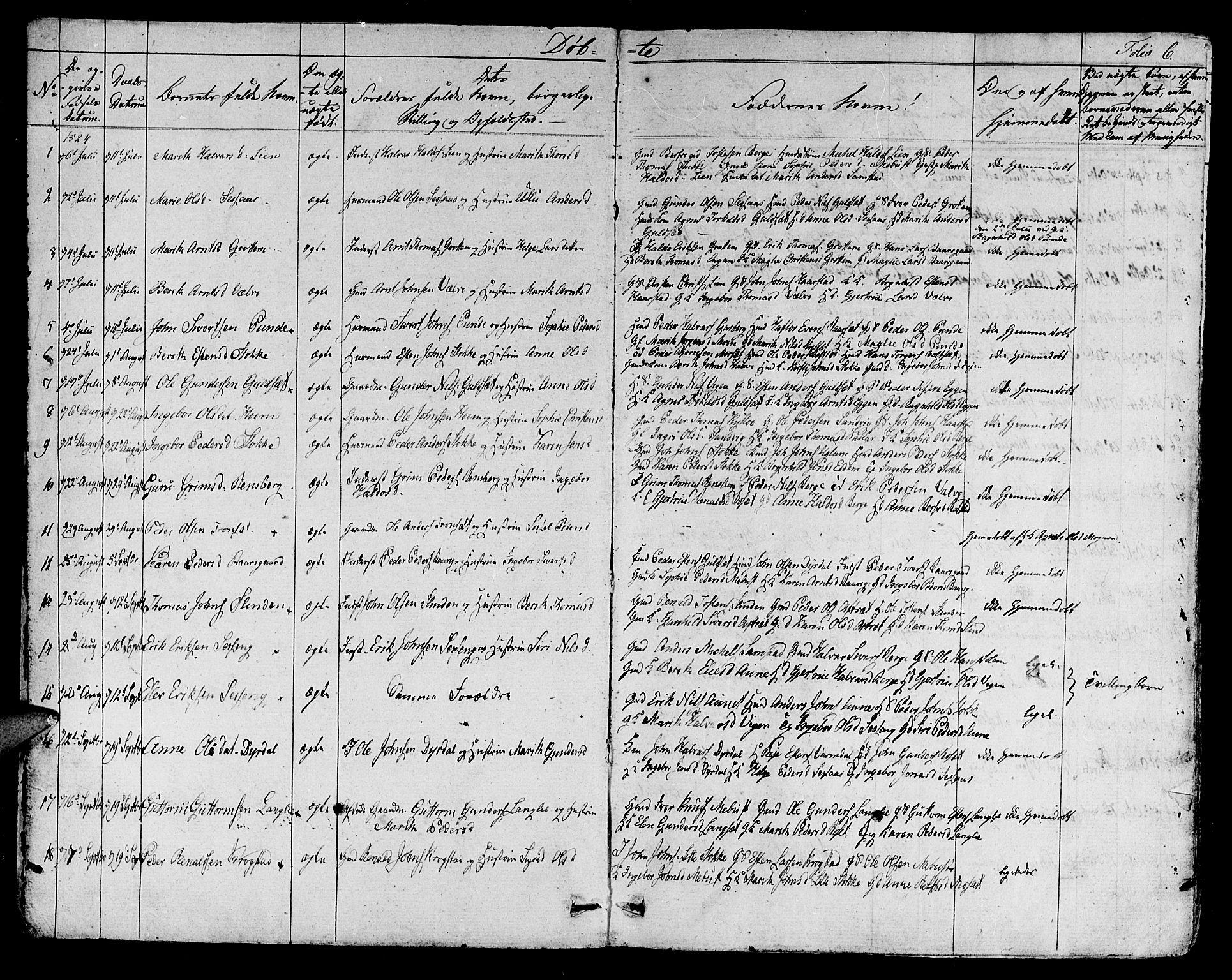 SAT, Ministerialprotokoller, klokkerbøker og fødselsregistre - Sør-Trøndelag, 695/L1143: Ministerialbok nr. 695A05 /1, 1824-1842, s. 6
