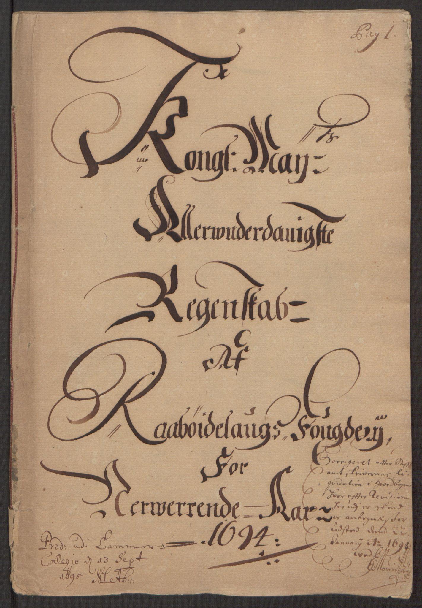 RA, Rentekammeret inntil 1814, Reviderte regnskaper, Fogderegnskap, R40/L2444: Fogderegnskap Råbyggelag, 1693-1696, s. 83