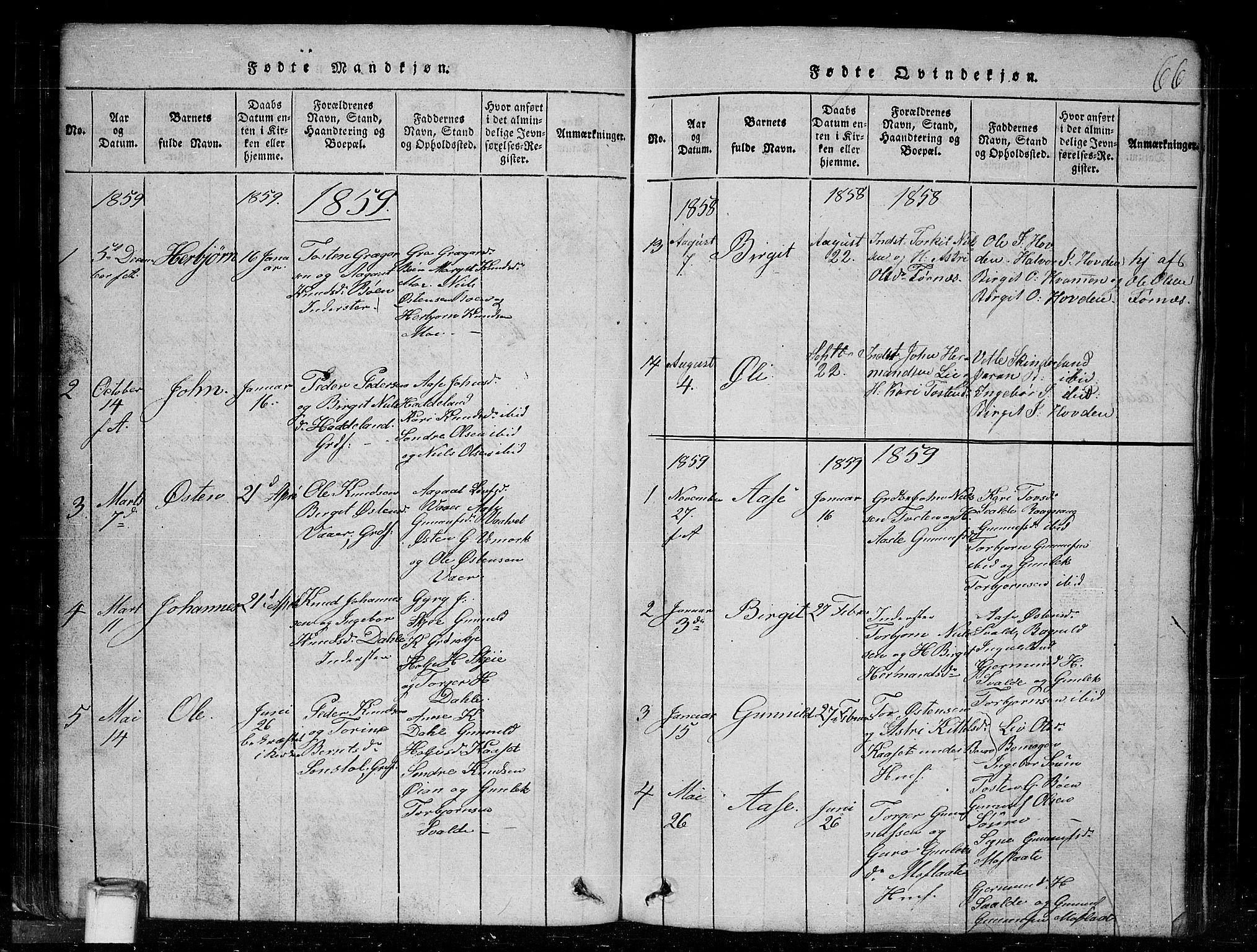 SAKO, Tinn kirkebøker, G/Gc/L0001: Klokkerbok nr. III 1, 1815-1879, s. 66