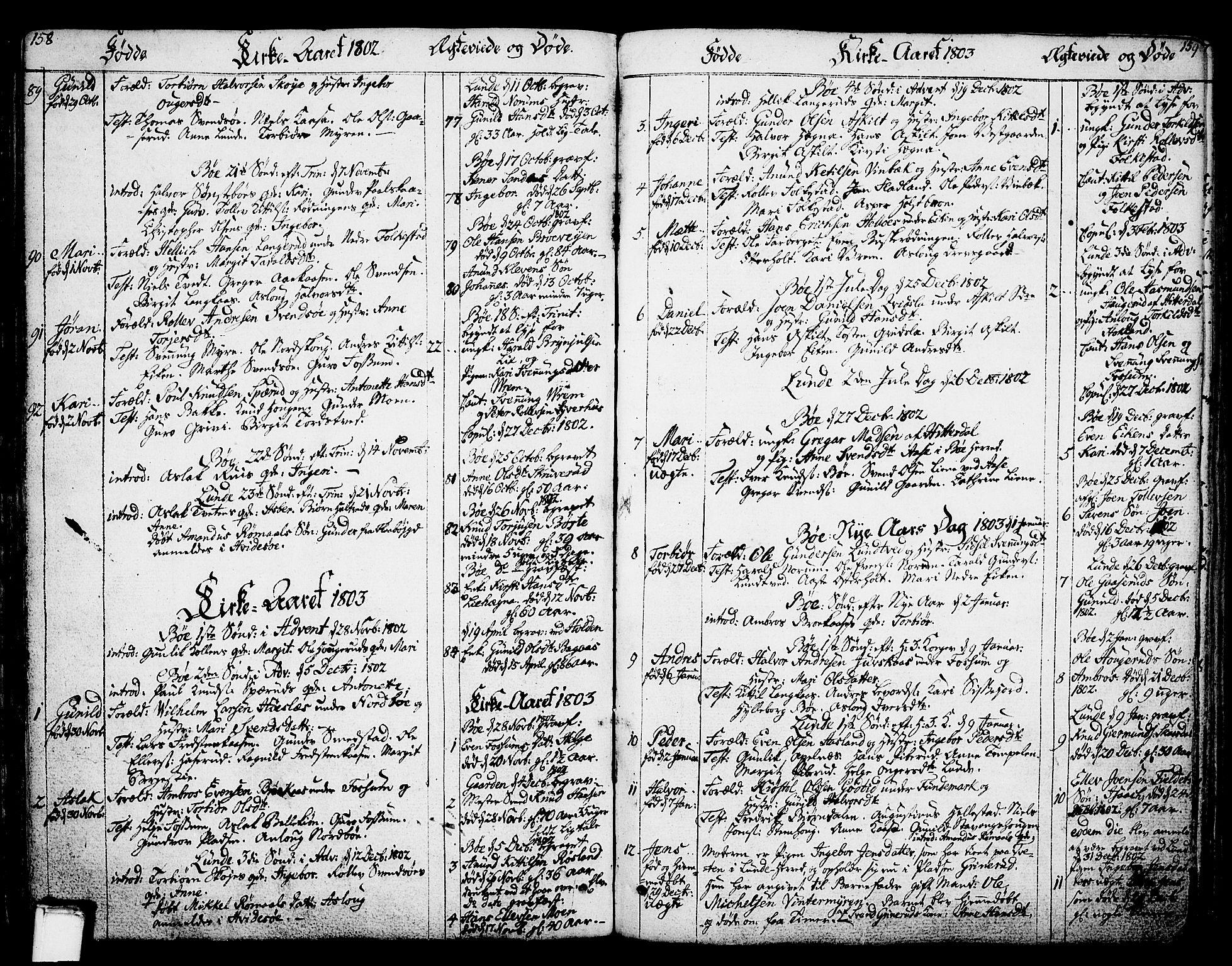 SAKO, Bø kirkebøker, F/Fa/L0005: Ministerialbok nr. 5, 1785-1815, s. 158-159